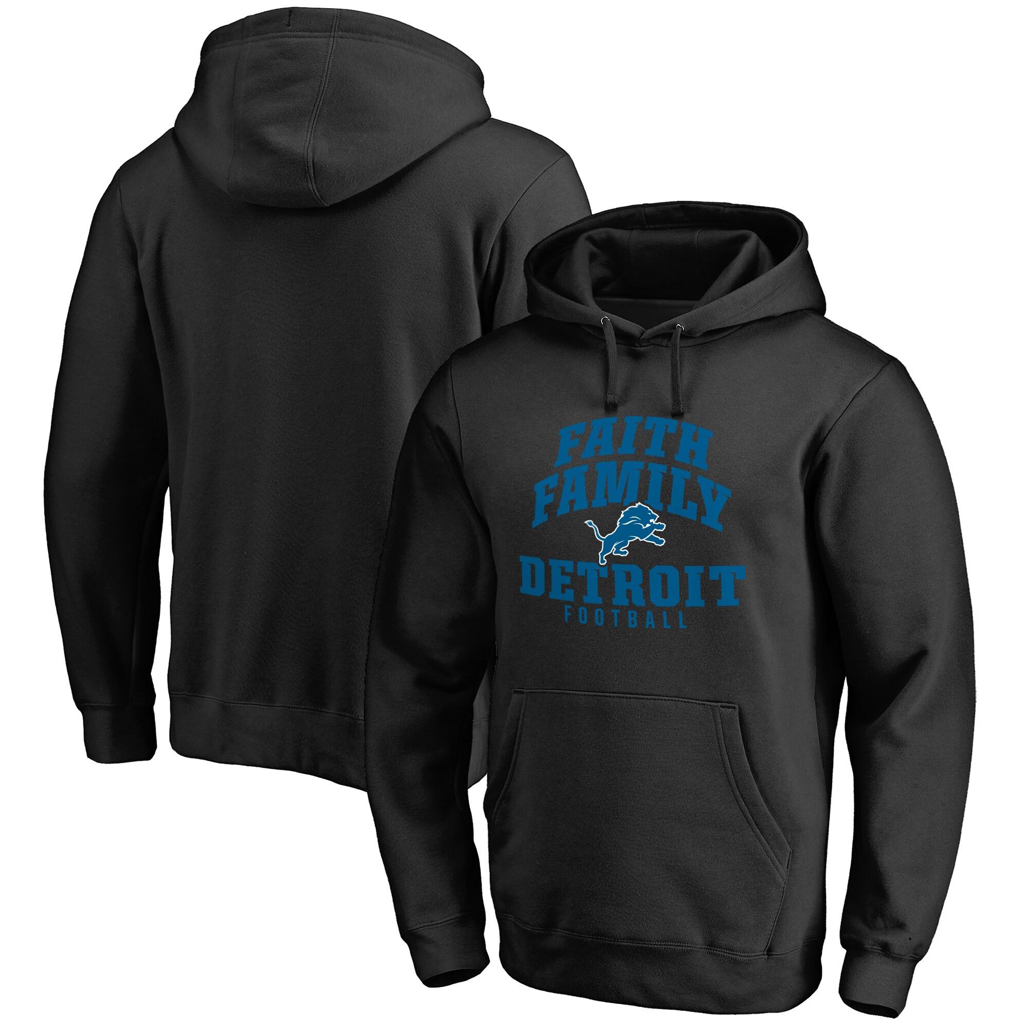 Detroit Lions NFL Pro Line Faith Family Pullover Hoodie - Black