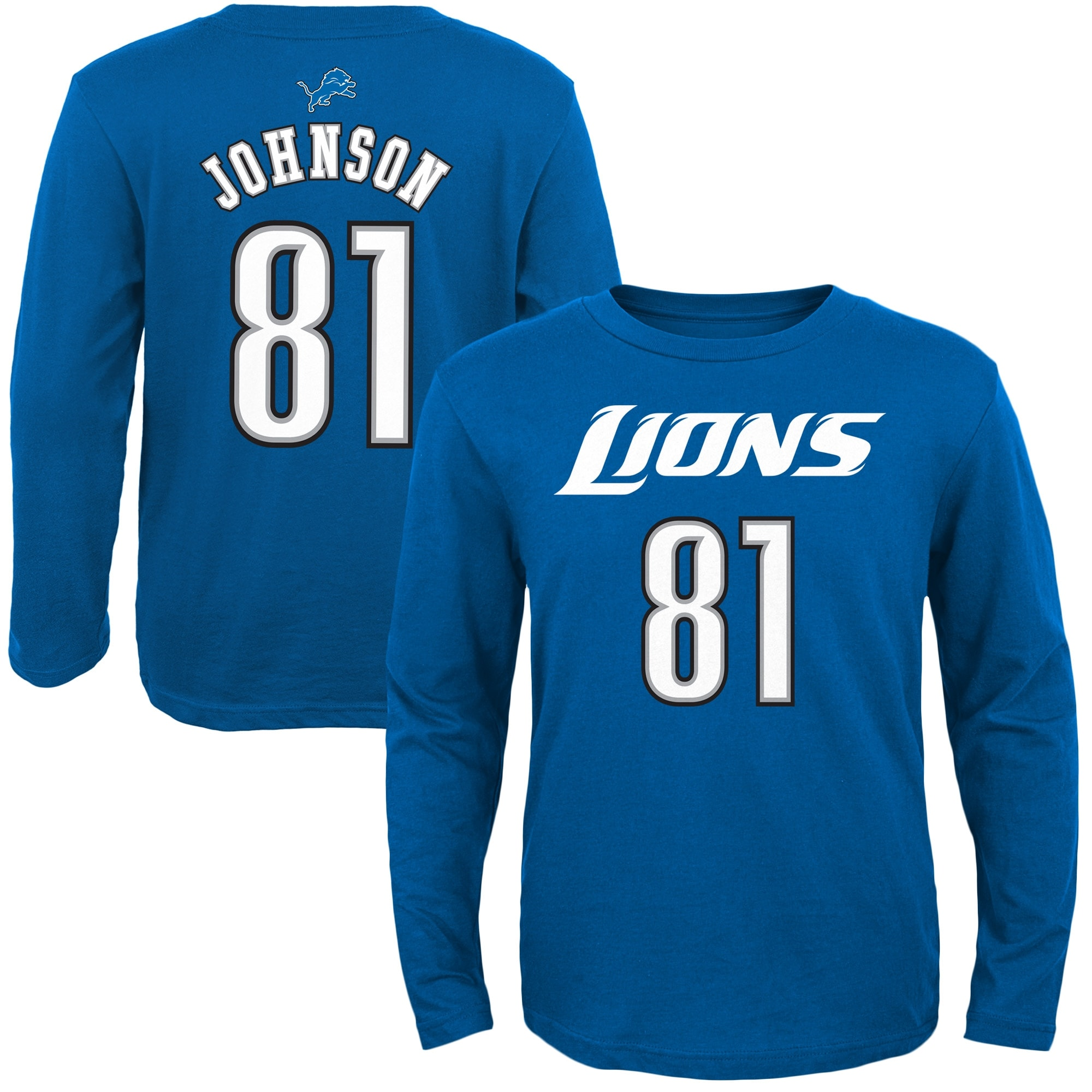 Calvin Johnson Detroit Lions Youth Primary Gear Name & Number Long Sleeve T-Shirt - Light Blue