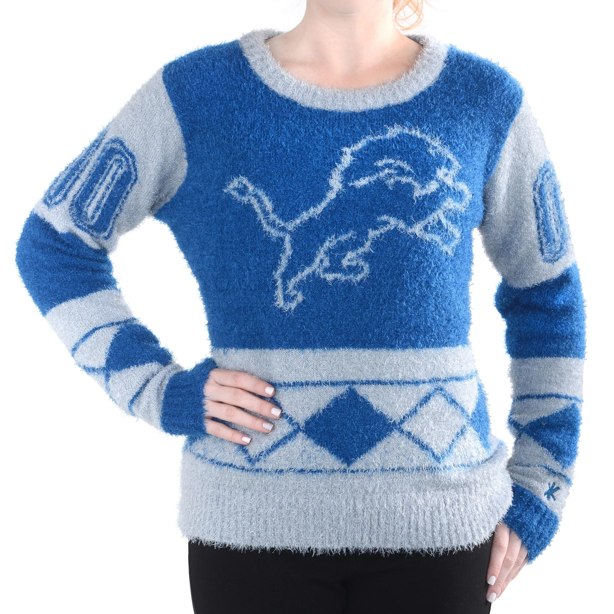Detroit Lions Klew Women's Eyelash Crew Ugly Sweater - Blue