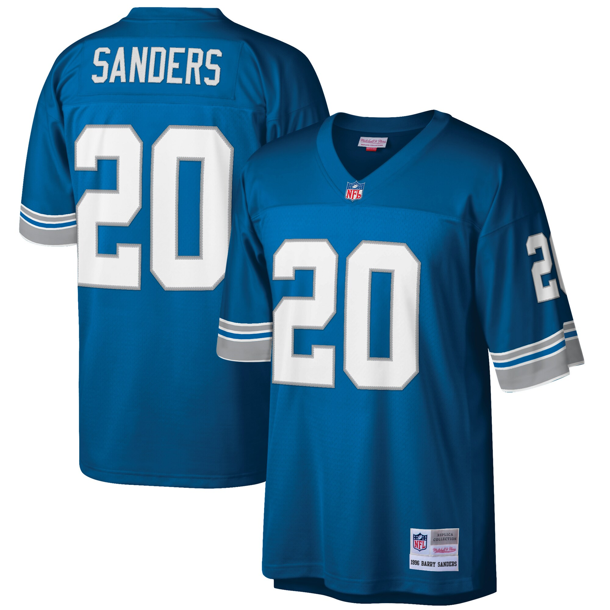 Barry Sanders Detroit Lions Mitchell & Ness Big & Tall 1996 Retired Player Replica Jersey - Blue