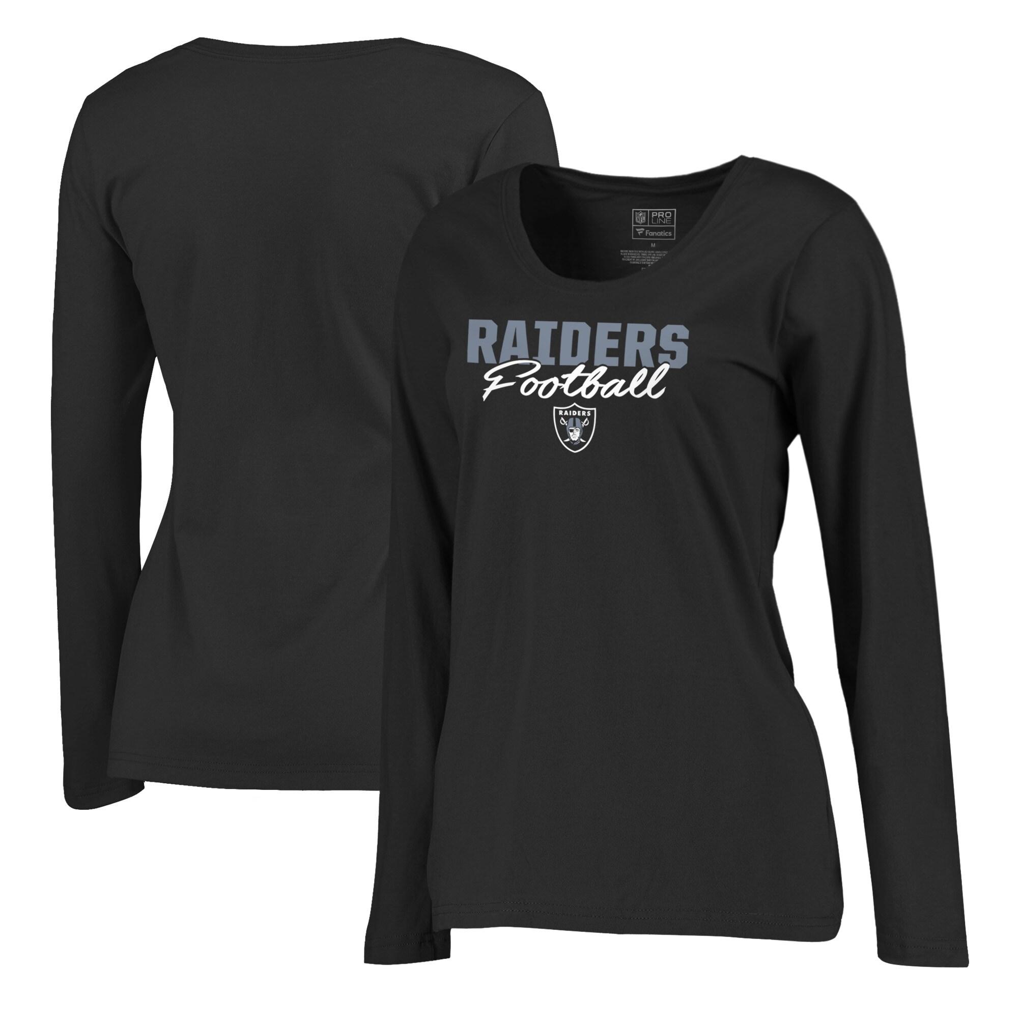 Las Vegas Raiders NFL Pro Line by Fanatics Branded Women's Iconic Collection Script Assist Plus Size Long Sleeve T-Shirt - Black