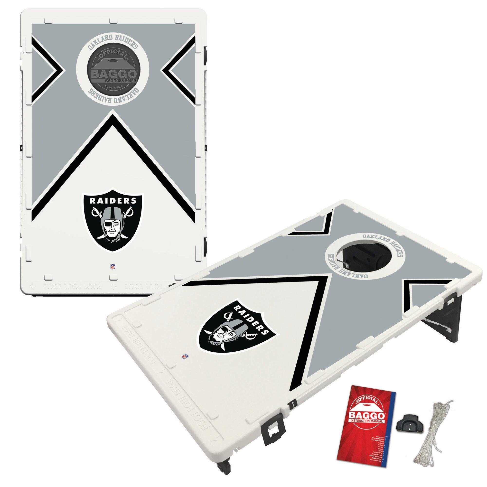 Las Vegas Raiders 2' x 3' BAGGO Vintage Cornhole Board Tailgate Toss Set