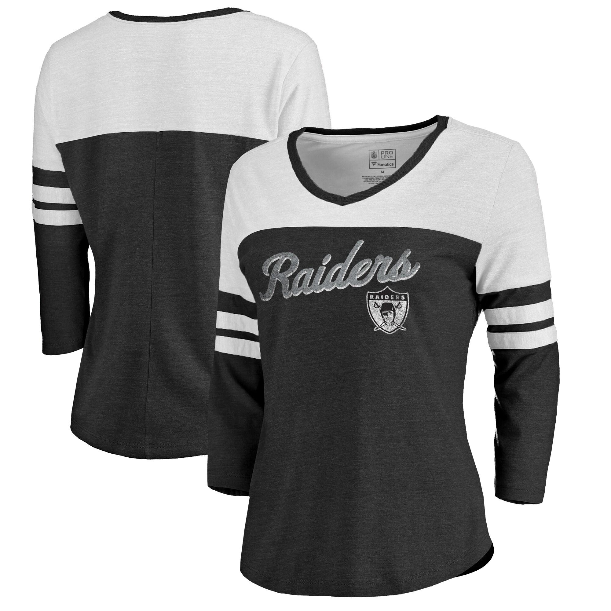 Las Vegas Raiders NFL Pro Line by Fanatics Branded Women's Timeless Collection Rising Script Color Block 3/4 Sleeve Tri-Blend T-Shirt - Black