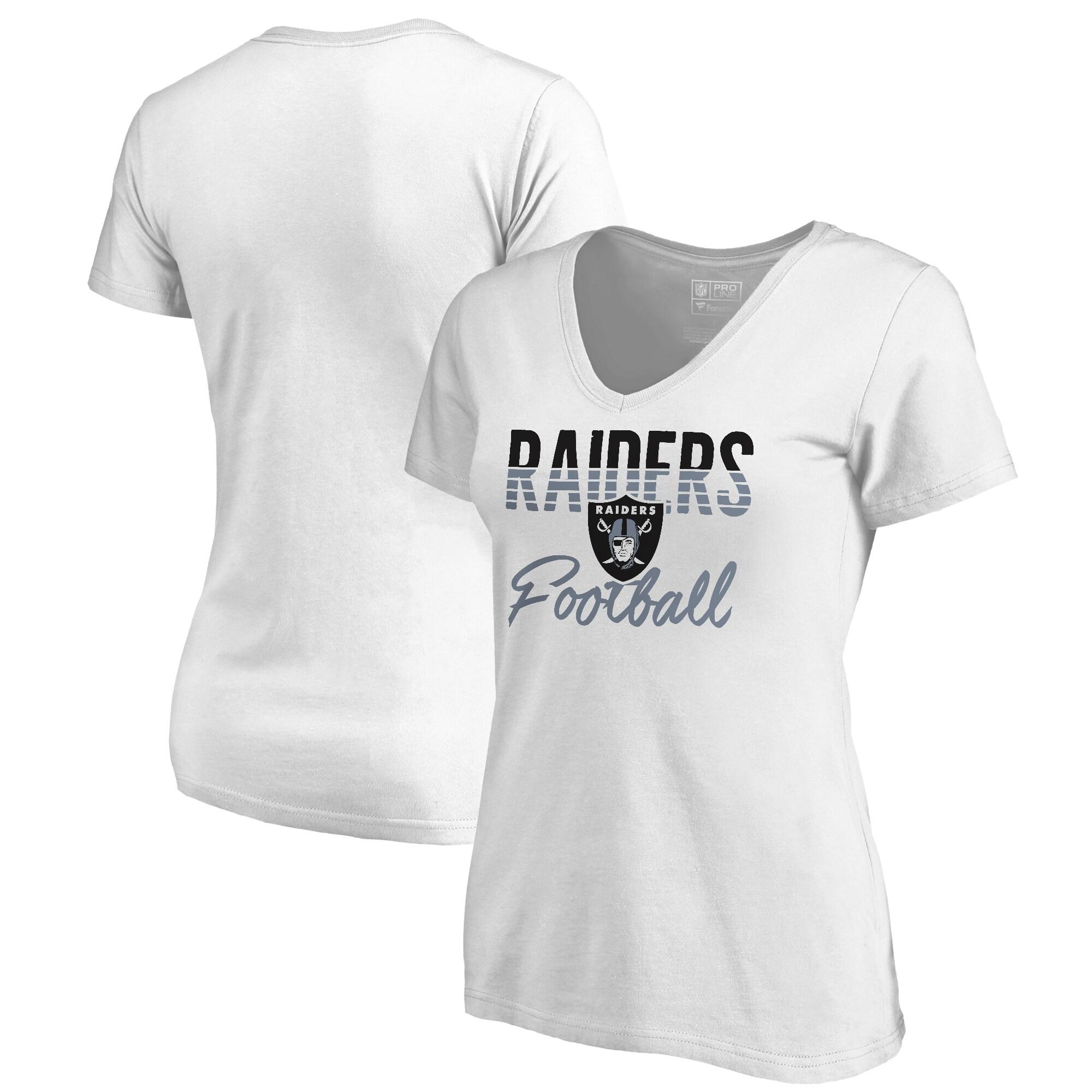 Las Vegas Raiders NFL Pro Line by Fanatics Branded Women's Free Line Plus Size V-Neck T-Shirt - White