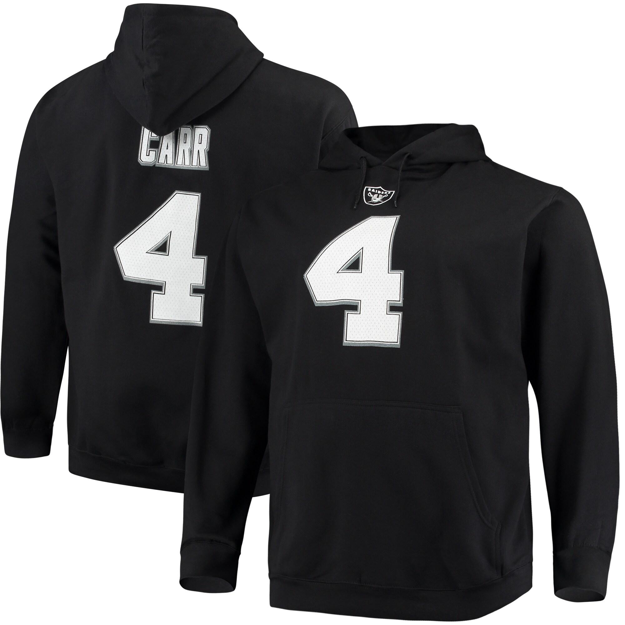 Derek Carr Las Vegas Raiders Majestic Big & Tall Name & Number Pullover Hoodie - Black