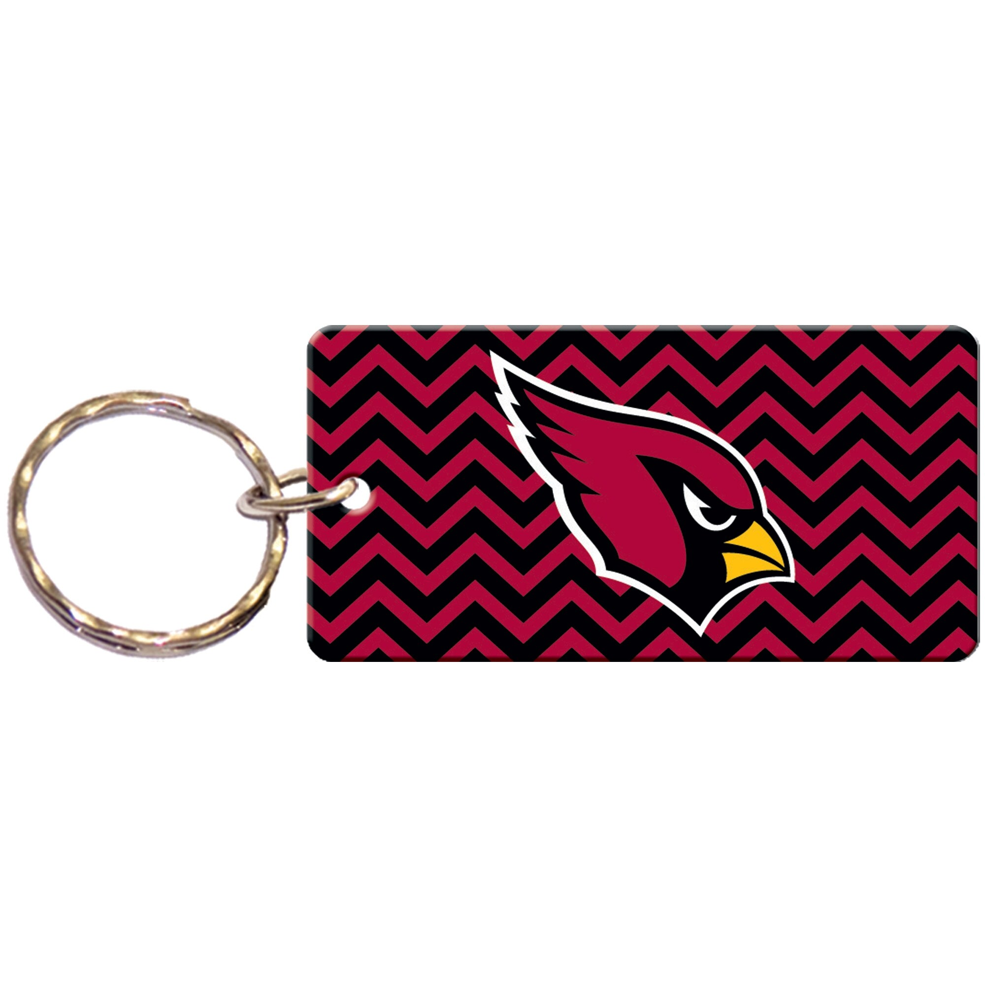 Arizona Cardinals Chevron Printed Acrylic Team Color Logo Keychain