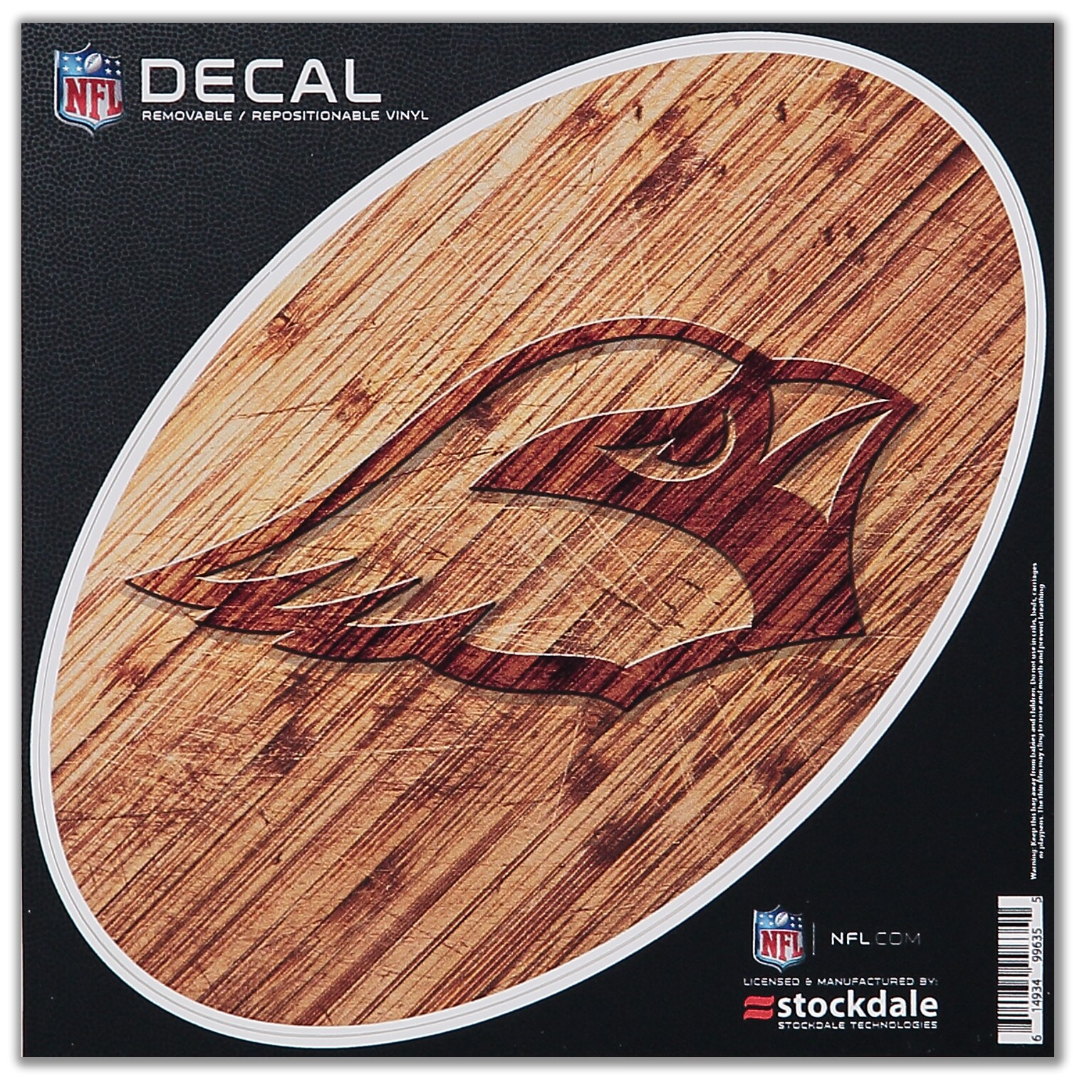 "Arizona Cardinals 8"" x 8"" Wood Oval Repositionable Decal"