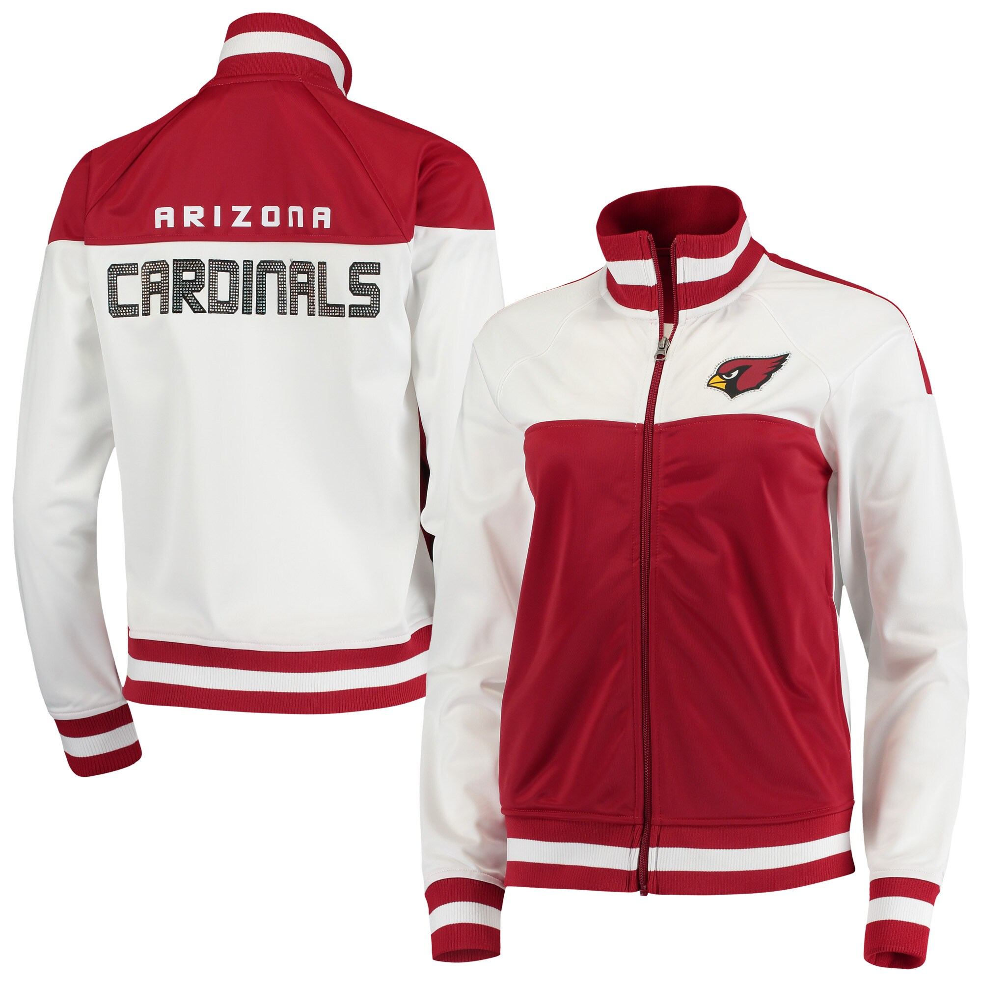 Arizona Cardinals G-III 4Her by Carl Banks Women's Face Off Raglan Full-Zip Track Jacket - White/Cardinal