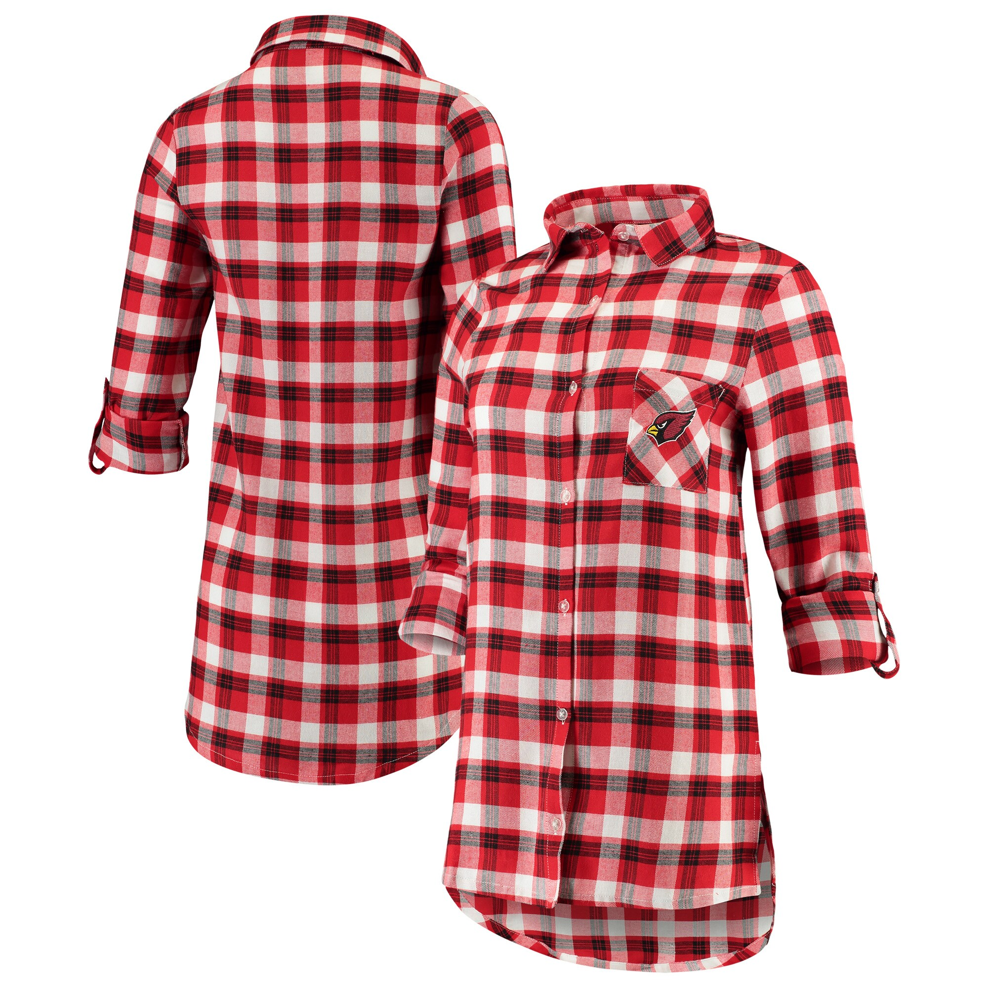 Arizona Cardinals Concepts Sport Women's Piedmont Flannel Button-Up Long Sleeve Shirt - Cardinal/Black
