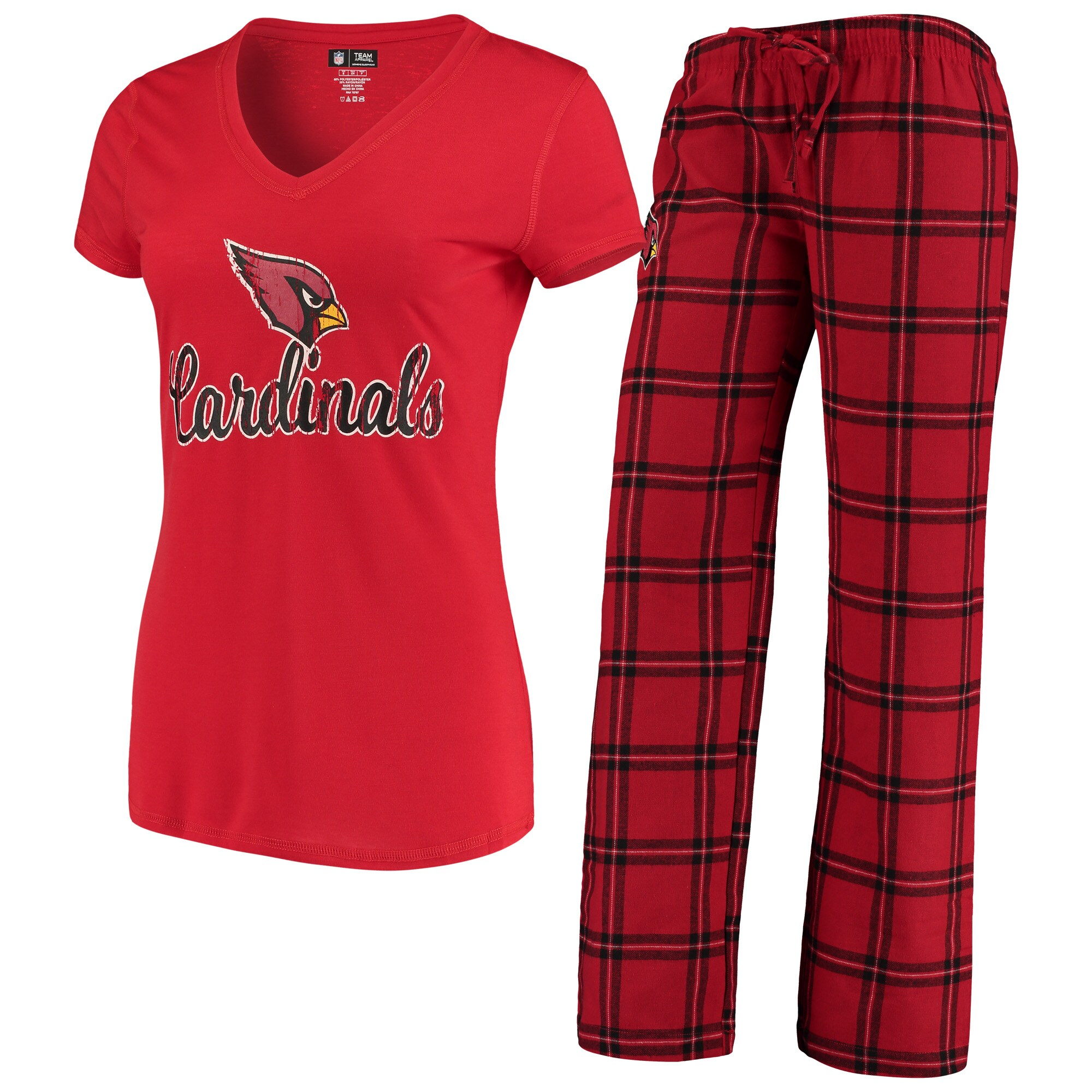 Arizona Cardinals Concepts Sport Women's Troupe V-Neck T-Shirt & Pants Sleep Set - Cardinal/Black