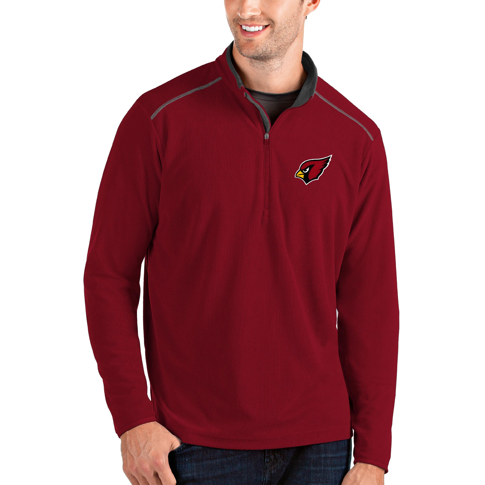 Arizona Cardinals Antigua Glacier Quarter-Zip Pullover Jacket - Cardinal/Gray