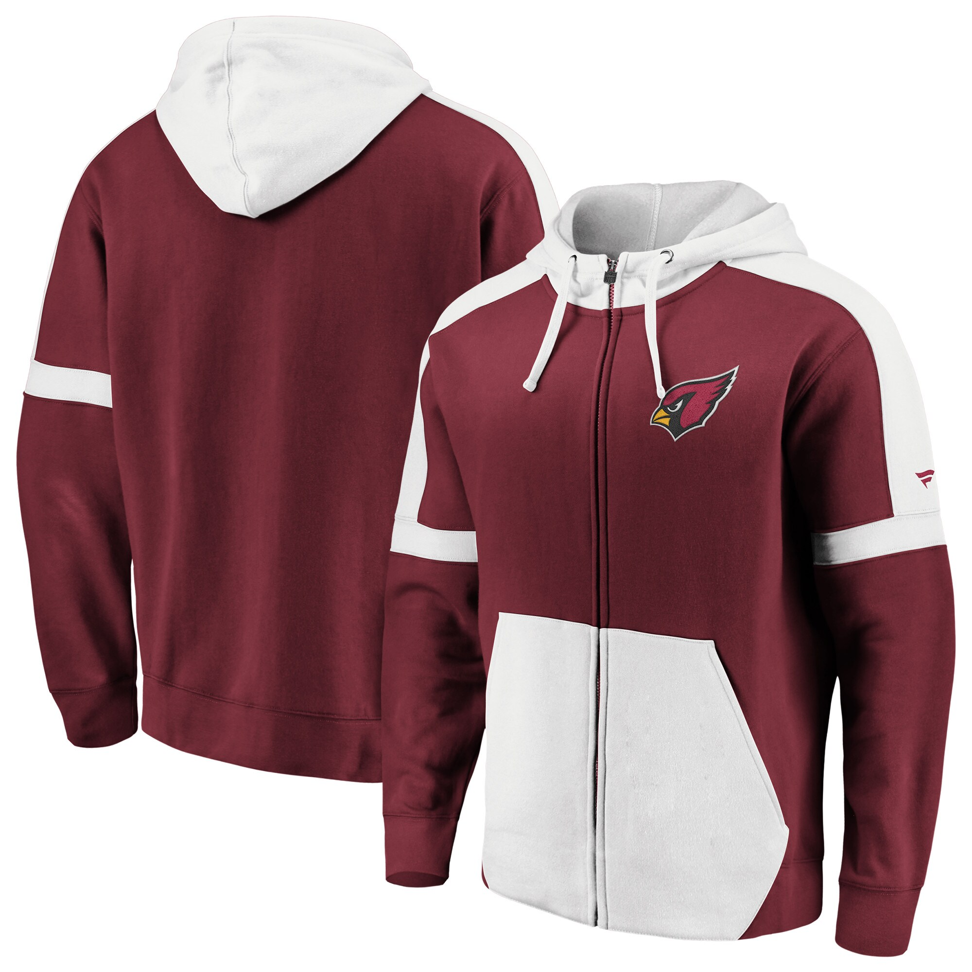 Arizona Cardinals NFL Pro Line by Fanatics Branded Big & Tall Iconic Full-Zip Hoodie - Cardinal/White