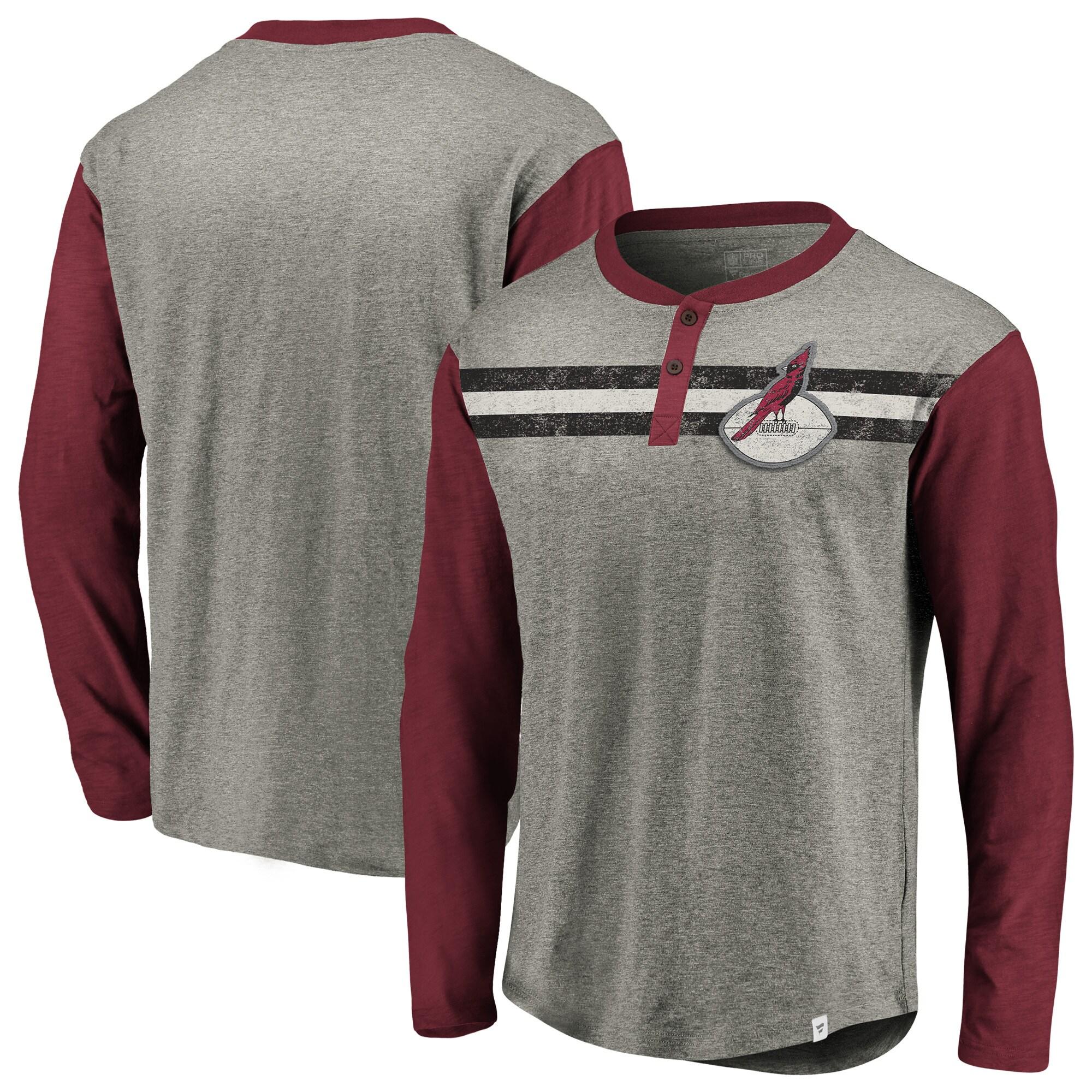 Arizona Cardinals NFL Pro Line by Fanatics Branded Big & Tall True Classics Henley Long Sleeve T-Shirt - Heathered Gray/Cardinal