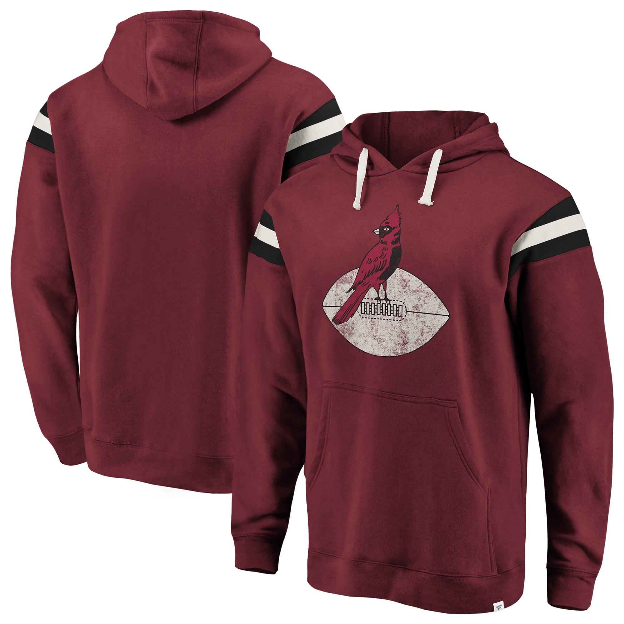 Arizona Cardinals NFL Pro Line by Fanatics Branded Big & Tall True Classics Retro Stripe Pullover Hoodie - Cardinal