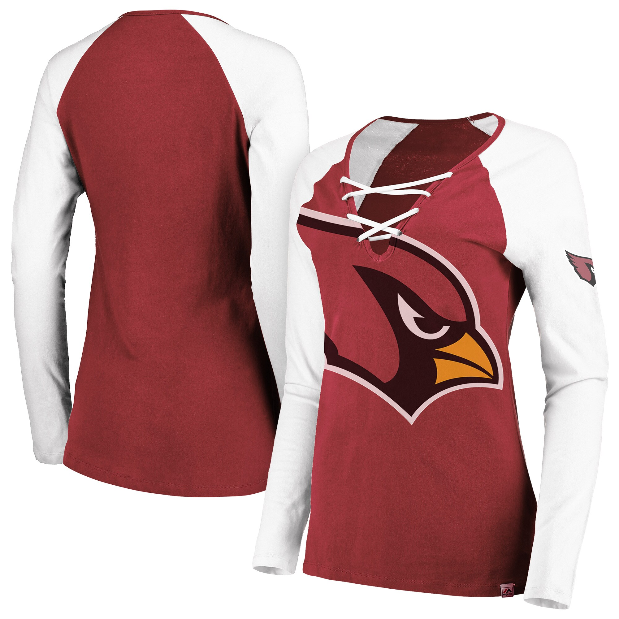 Arizona Cardinals Majestic Women's Long Sleeve Lace-Up V-Neck T-Shirt - Cardinal/White
