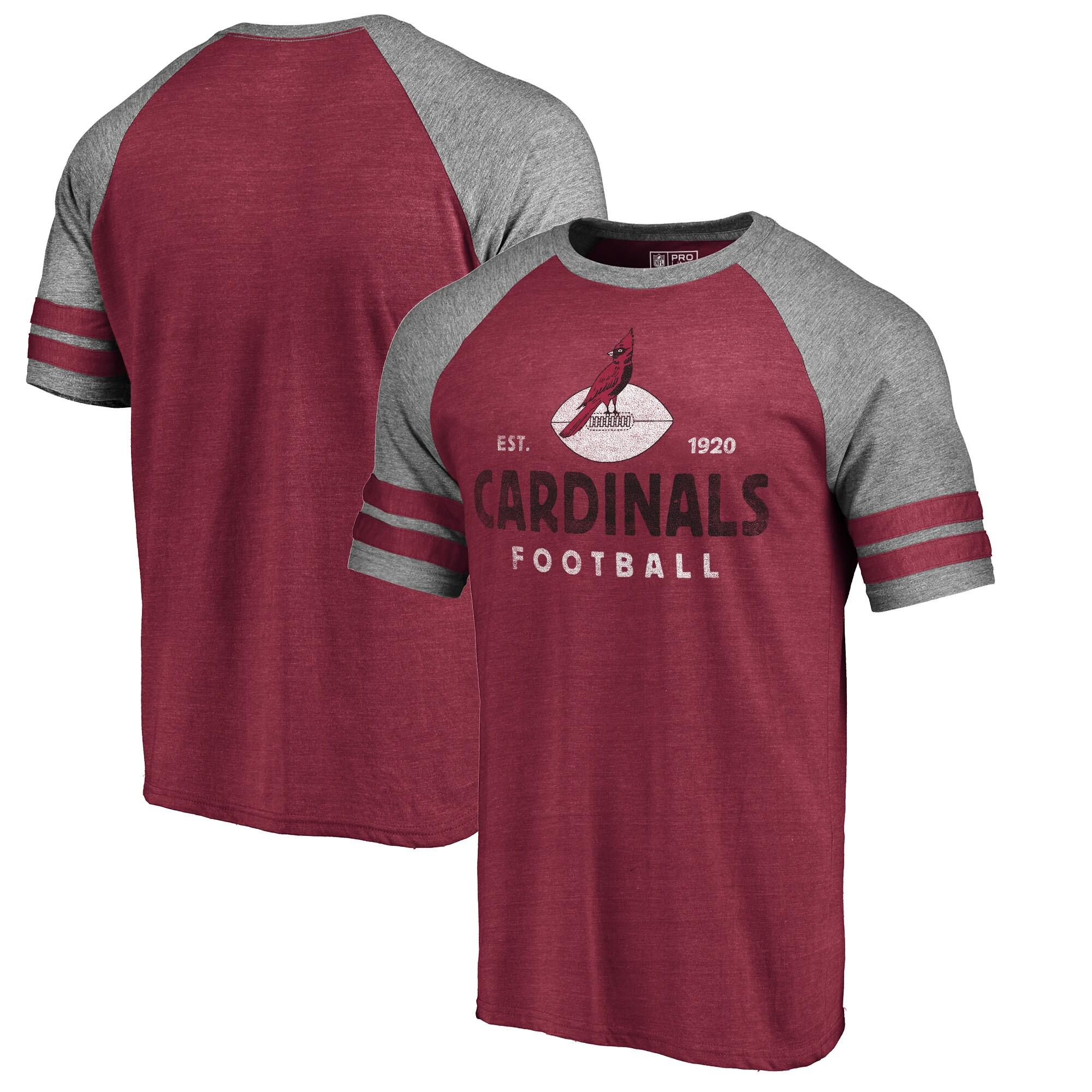 Arizona Cardinals NFL Pro Line by Fanatics Branded Timeless Collection Vintage Arch Tri-Blend Raglan T-Shirt - Cardinal