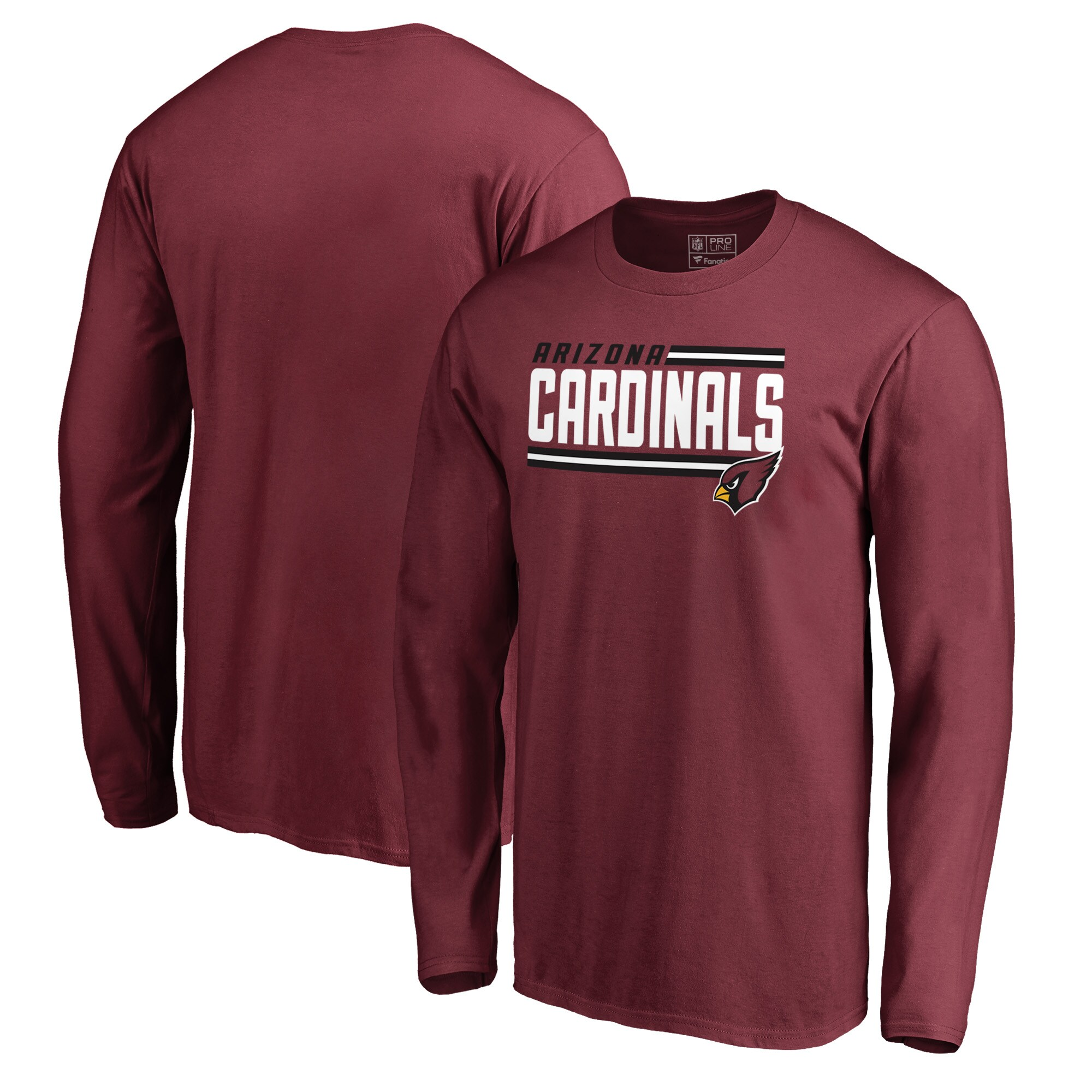 Arizona Cardinals NFL Pro Line by Fanatics Branded Iconic Collection On Side Stripe Long Sleeve T-Shirt - Cardinal