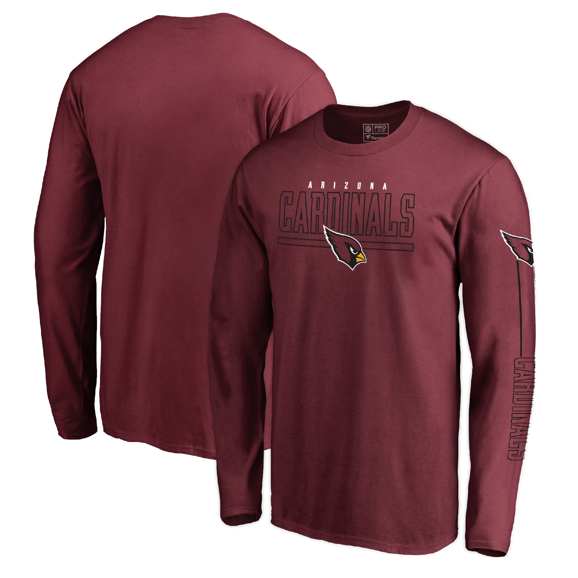 Arizona Cardinals NFL Pro Line by Fanatics Branded Front Line Long Sleeve T-Shirt - Cardinal