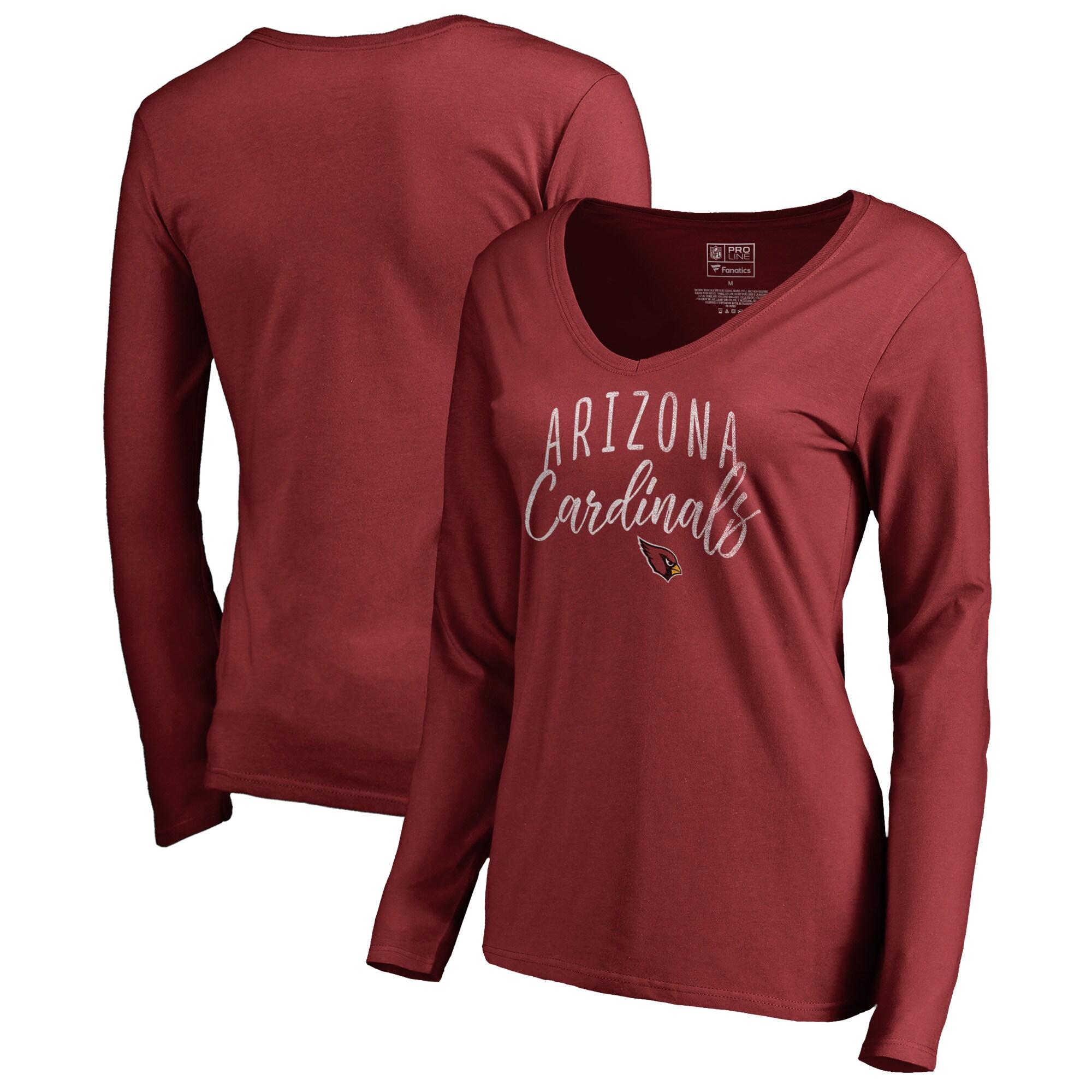 Arizona Cardinals NFL Pro Line by Fanatics Branded Women's Graceful Long Sleeve V-Neck T-Shirt - Cardinal
