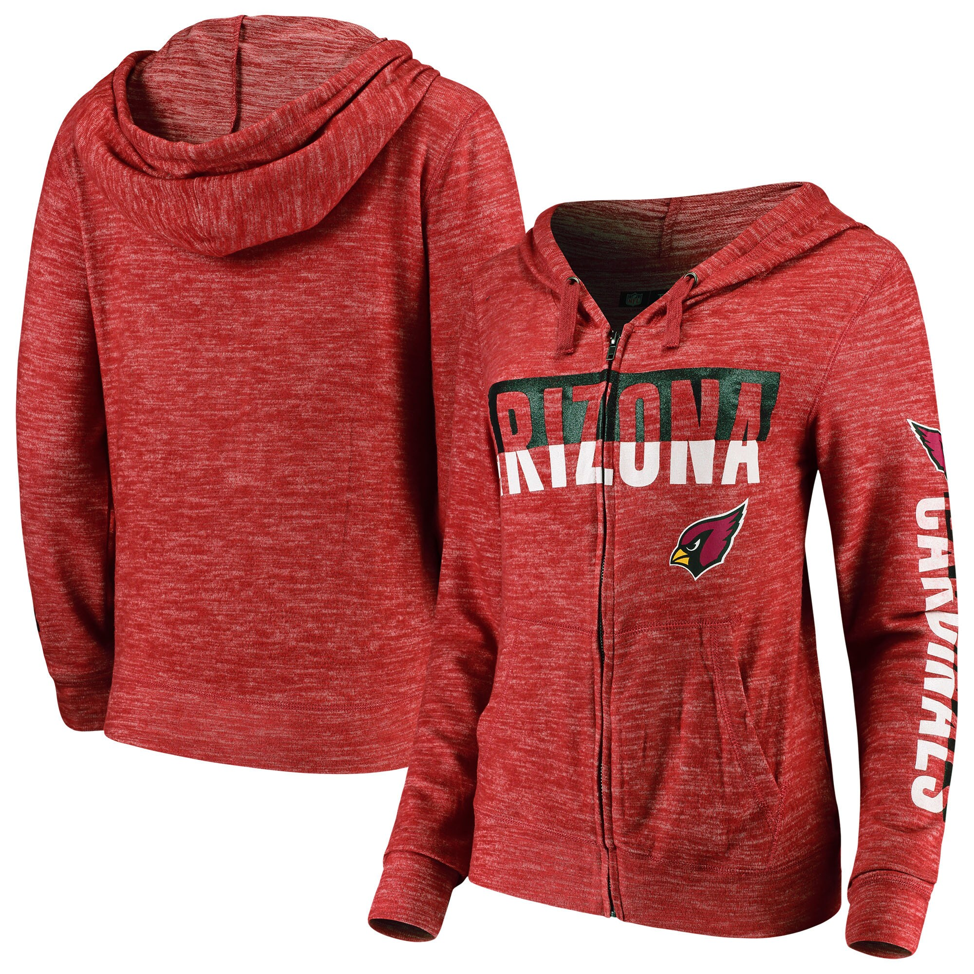 Arizona Cardinals New Era Women's Glitter Sweater Knit Tri-Blend Full-Zip Hoodie - Cardinal