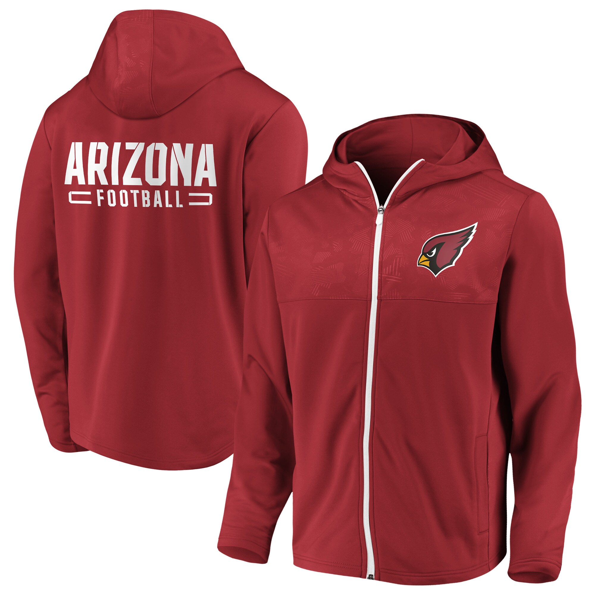 Arizona Cardinals NFL Pro Line by Fanatics Branded Iconic Defender Mission Primary Full-Zip Hoodie - Cardinal
