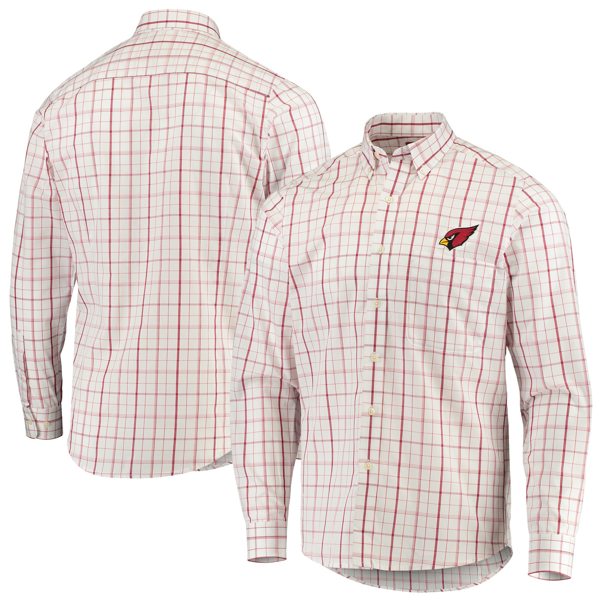 Arizona Cardinals Antigua Keen Long Sleeve Button-Down Shirt - White/Cardinal