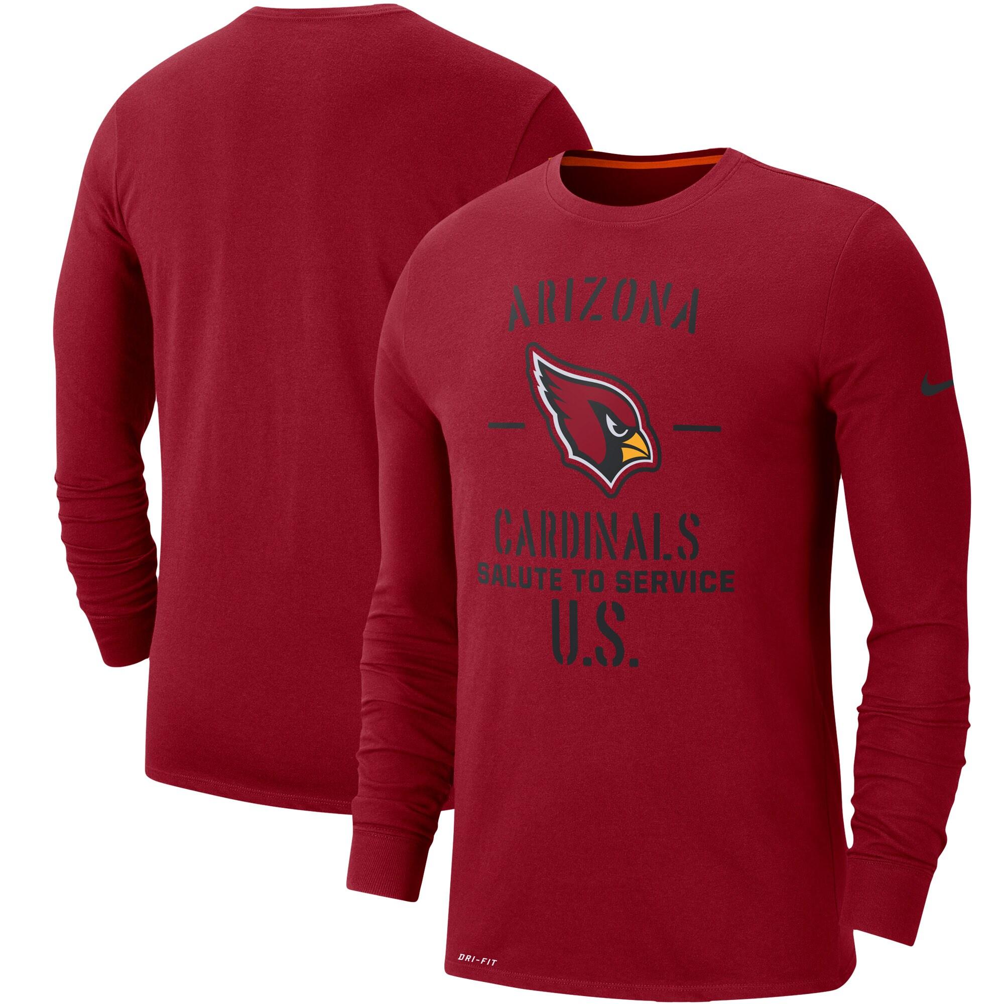 Arizona Cardinals Nike 2019 Salute to Service Sideline Performance Long Sleeve Shirt - Cardinal