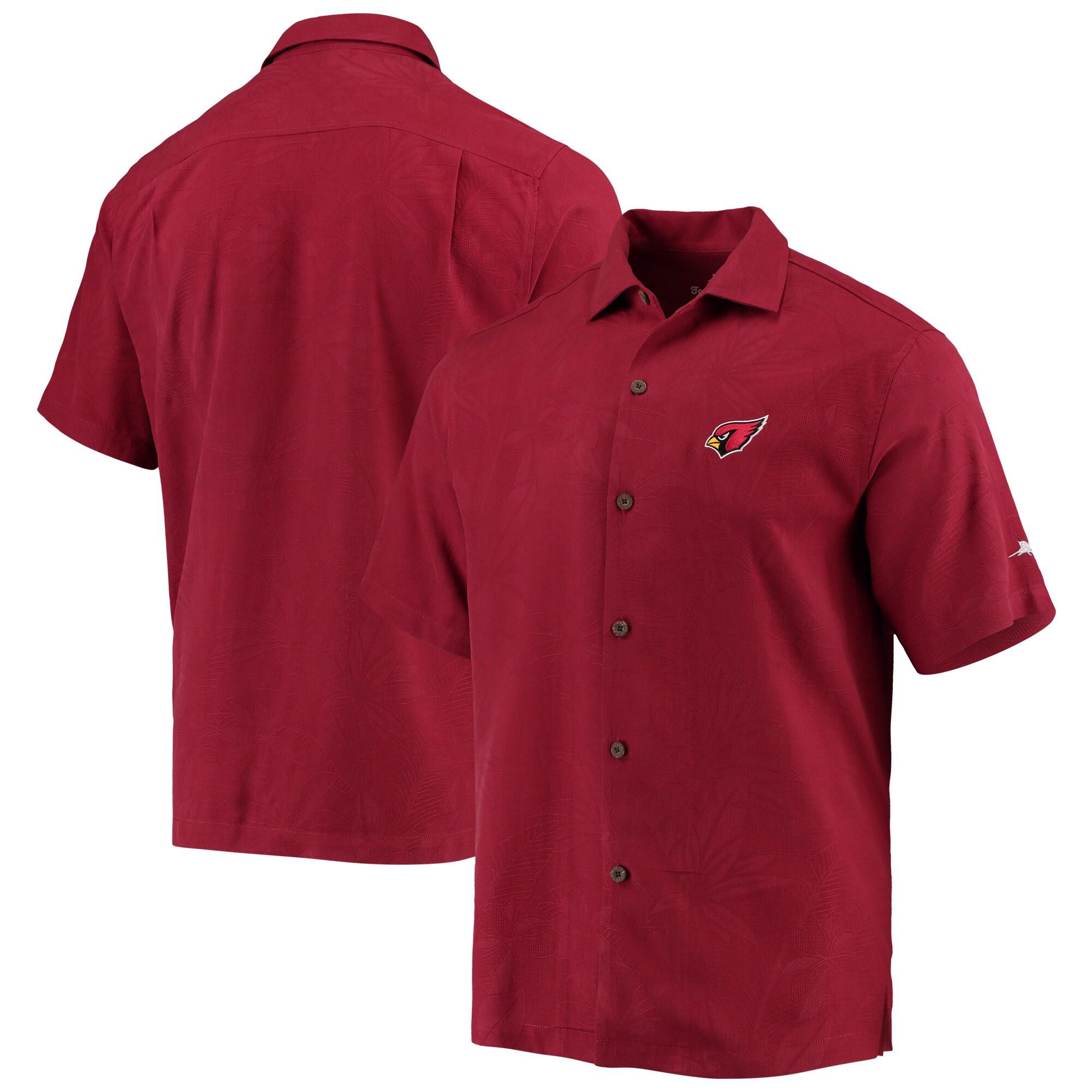 Arizona Cardinals Tommy Bahama Al Fresco Tropics Jacquard Woven Button-Down Shirt - Cardinal