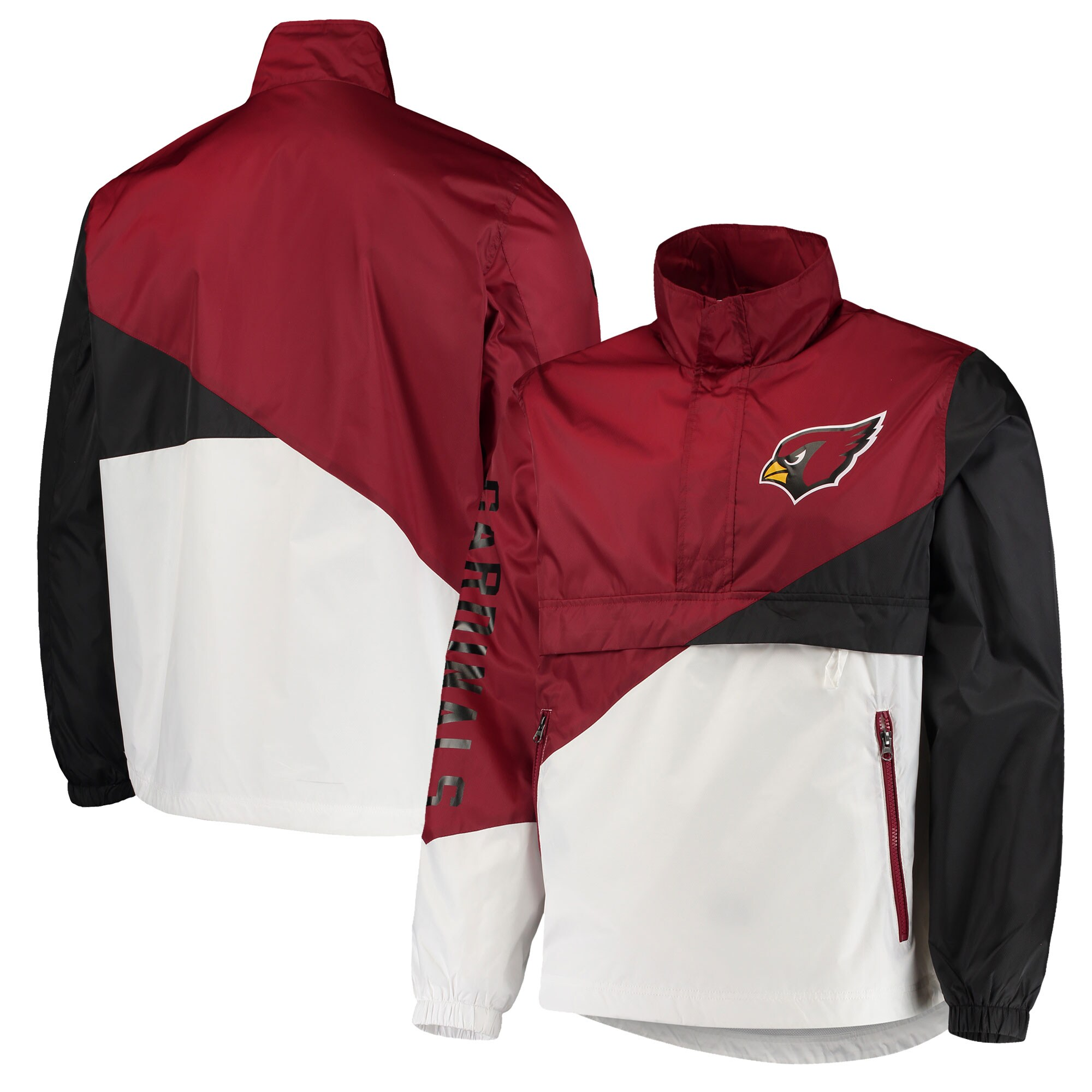 Arizona Cardinals G-III Sports by Carl Banks Double Team Half-Zip Pullover Jacket - Cardinal/White