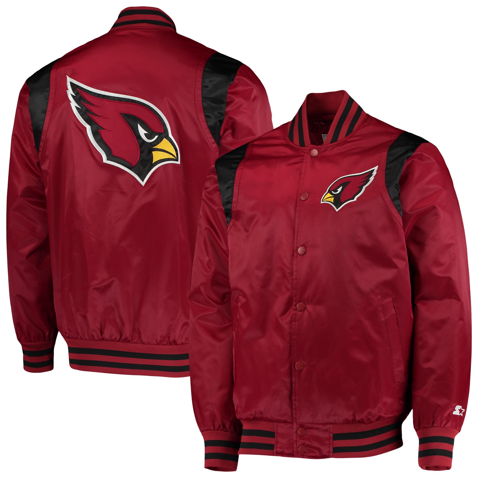 Arizona Cardinals Starter Prime Time Twill Satin Varsity Full-Snap Jacket - Cardinal/Black