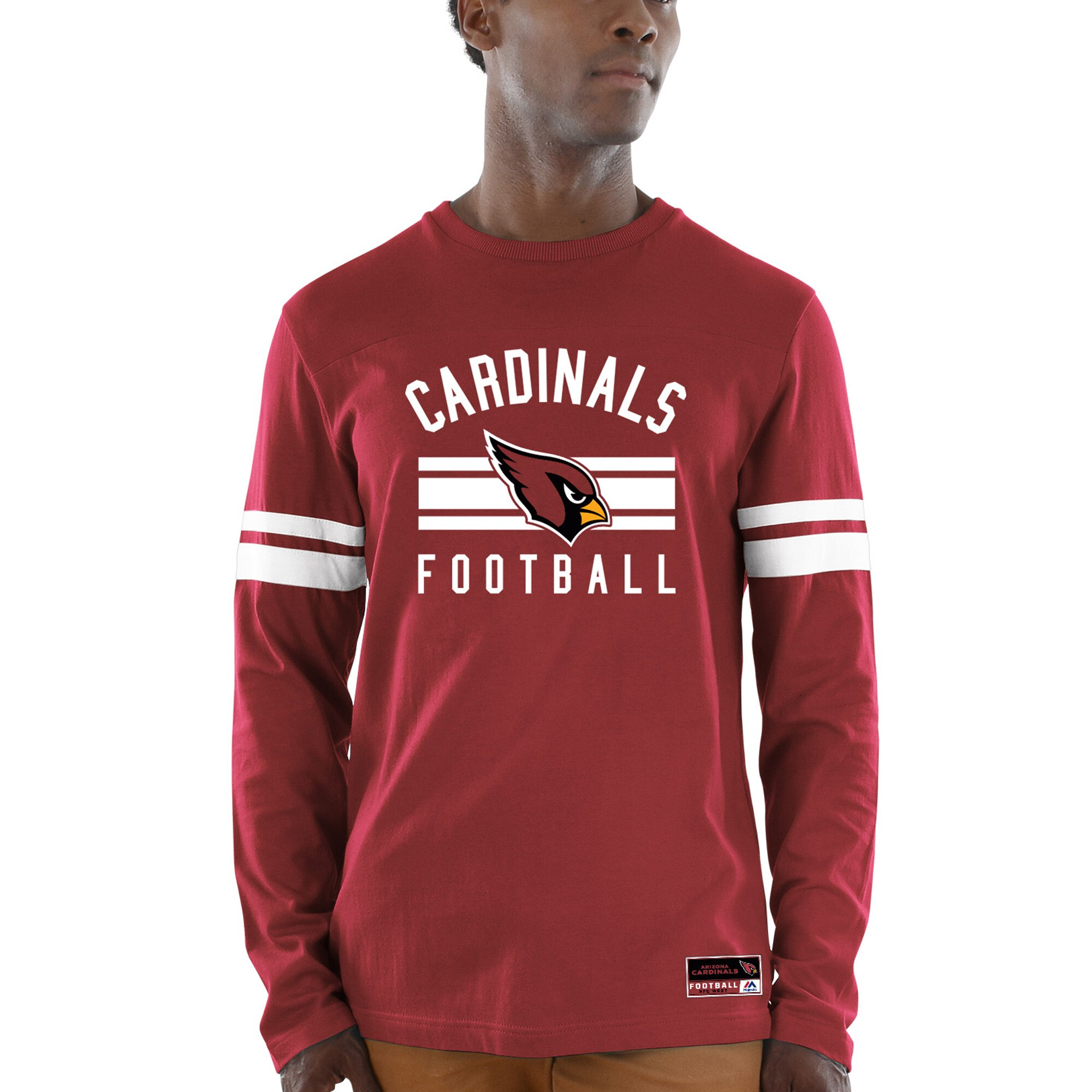 Arizona Cardinals Majestic Power Hit Wordmark Long Sleeve T-Shirt - Cardinal