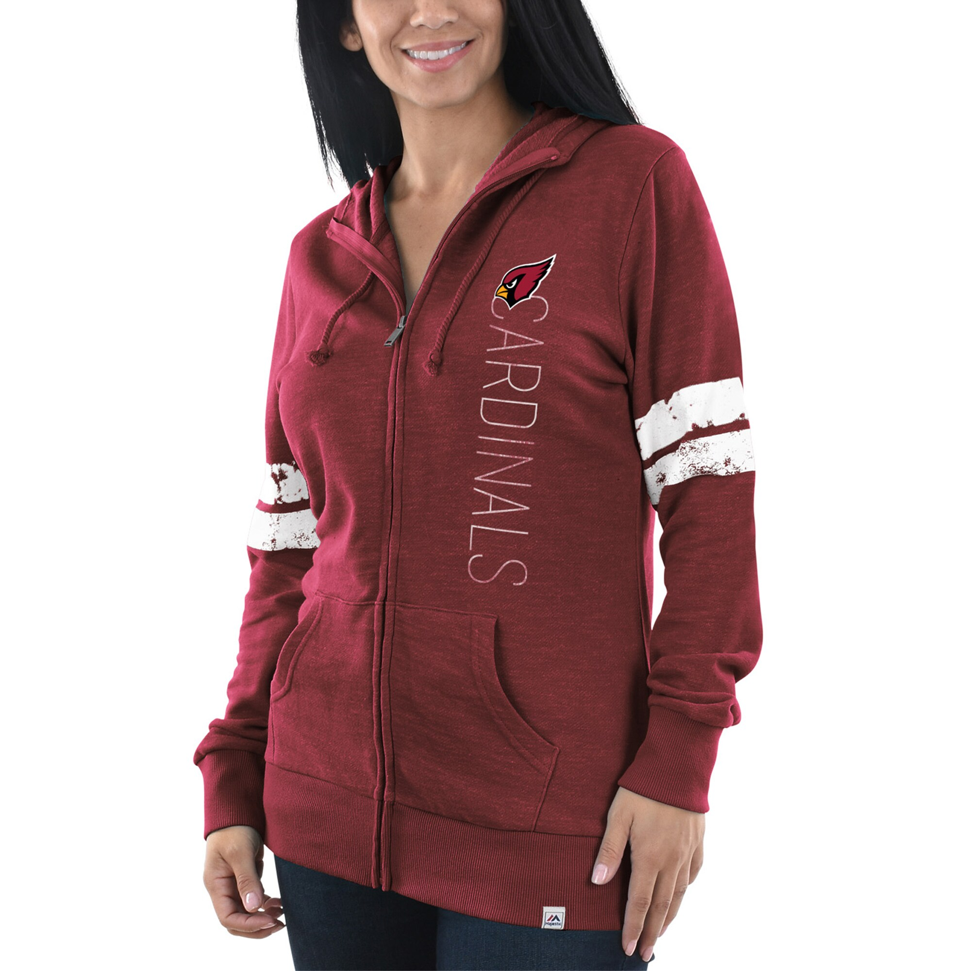 Arizona Cardinals Majestic Women's Athletic Tradition Full-Zip Hoodie - Heathered Cardinal