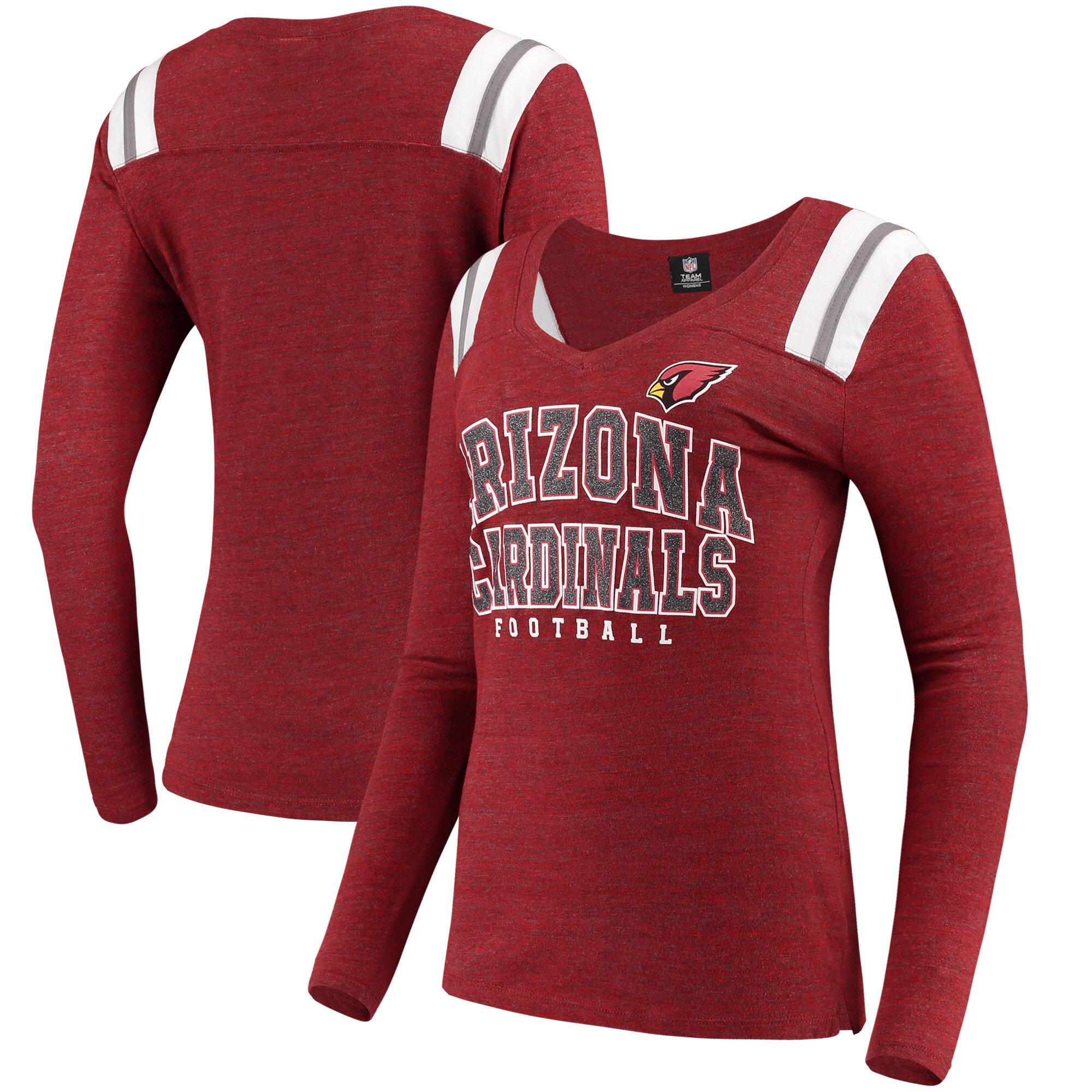 Arizona Cardinals 5th & Ocean by New Era Women's Tri-Blend Long Sleeve V-Neck T-Shirt - Cardinal
