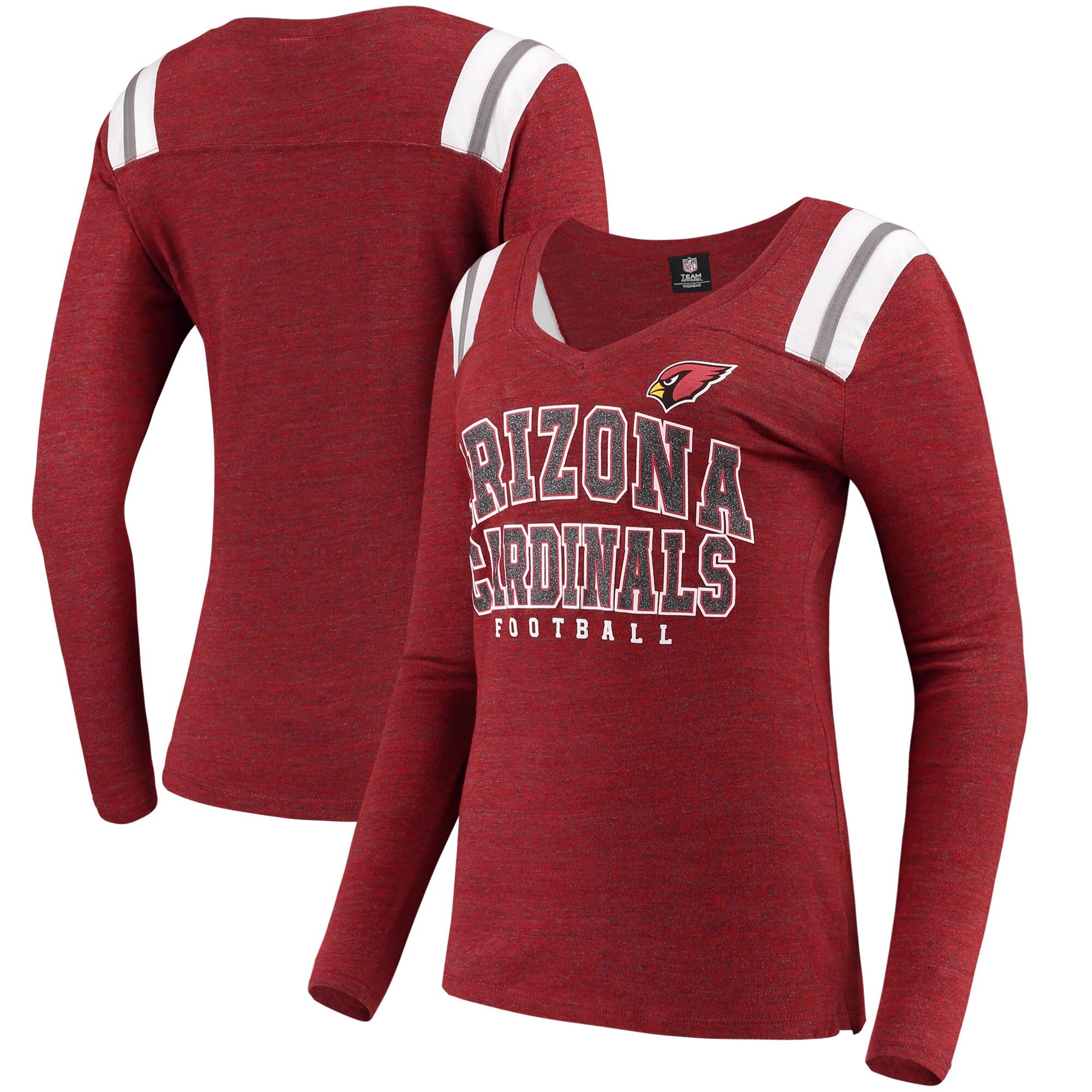 Arizona Cardinals 5th & Ocean by New Era Women's Tri-Blend Long Sleeve V-Neck T-Shirt - Cardinal