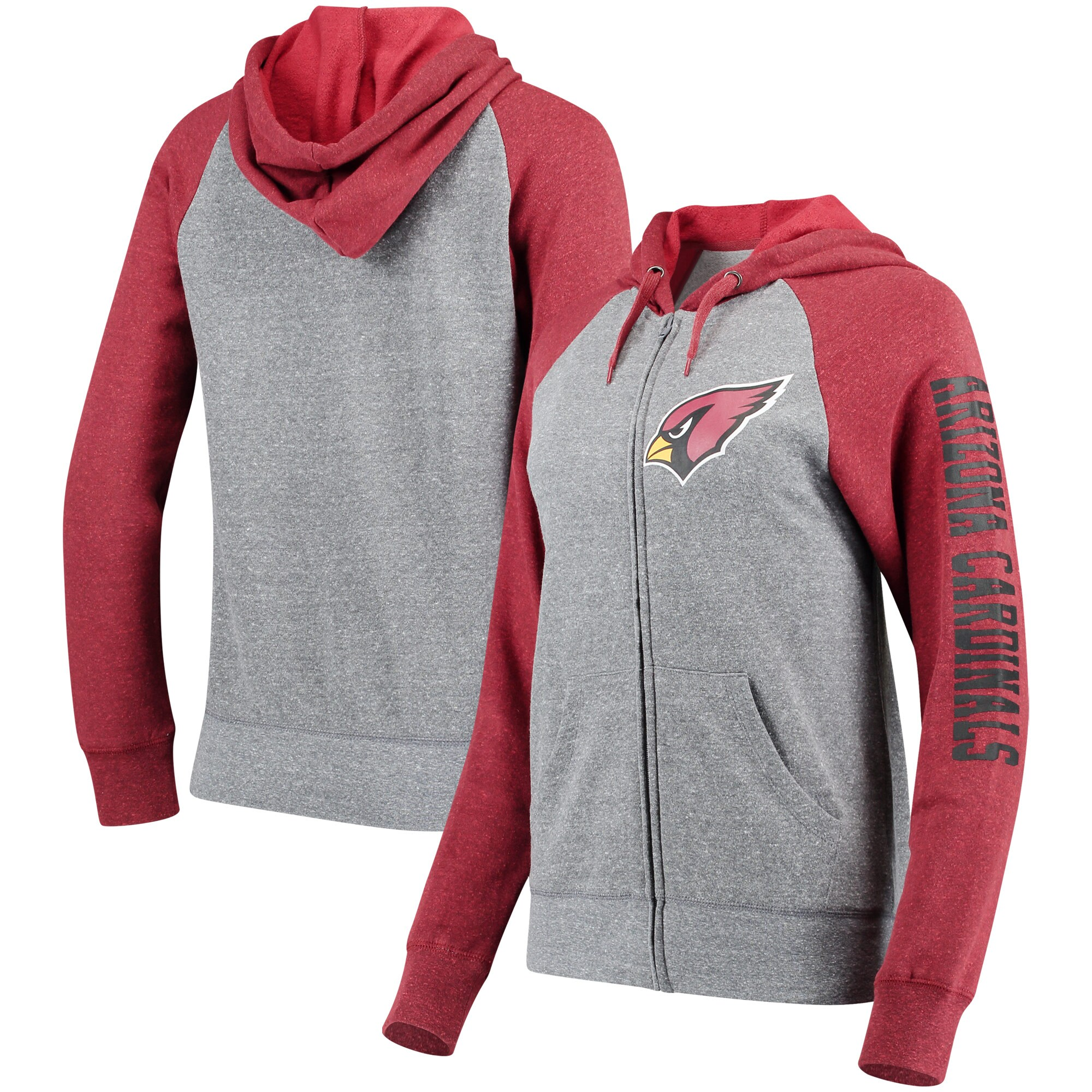 Arizona Cardinals 5th & Ocean by New Era Women's Fleece Tri-Blend Raglan Sleeve Full-Zip Hoodie - Heathered Gray/Cardinal