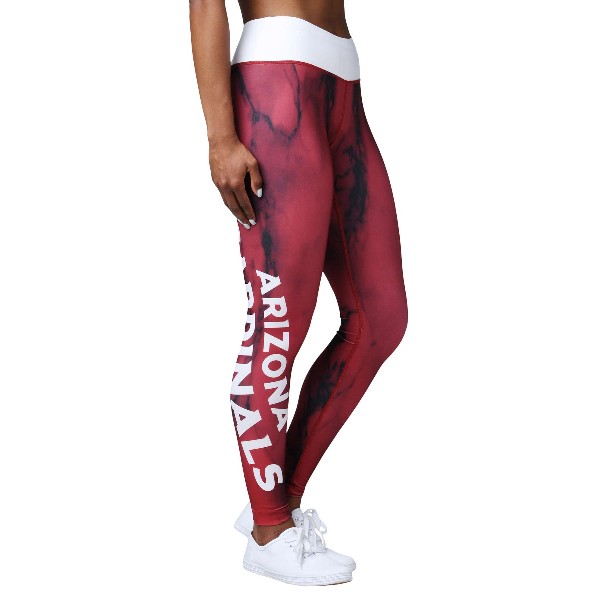 Arizona Cardinals Women's Team Color Marble Wordmark Leggings - Cardinal