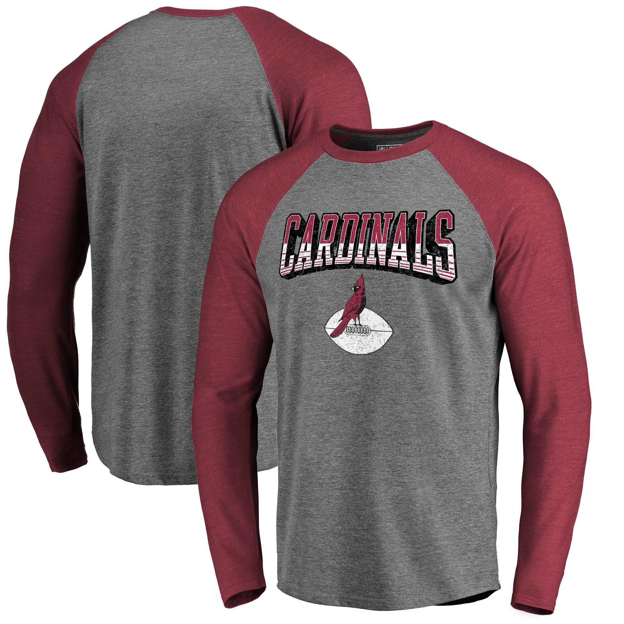 Arizona Cardinals NFL Pro Line by Fanatics Branded Throwback Collection Season Ticket Long Sleeve Tri-Blend Raglan T-Shirt - Heathered Gray/Cardinal