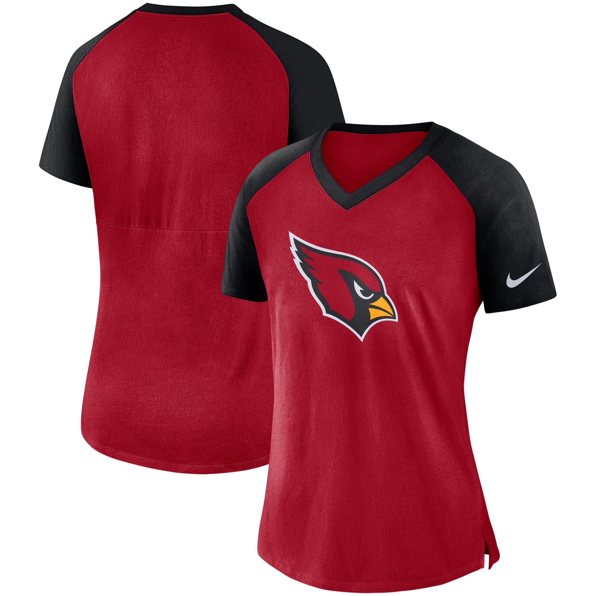Arizona Cardinals Nike Women's Top V-Neck T-Shirt - Cardinal/Black