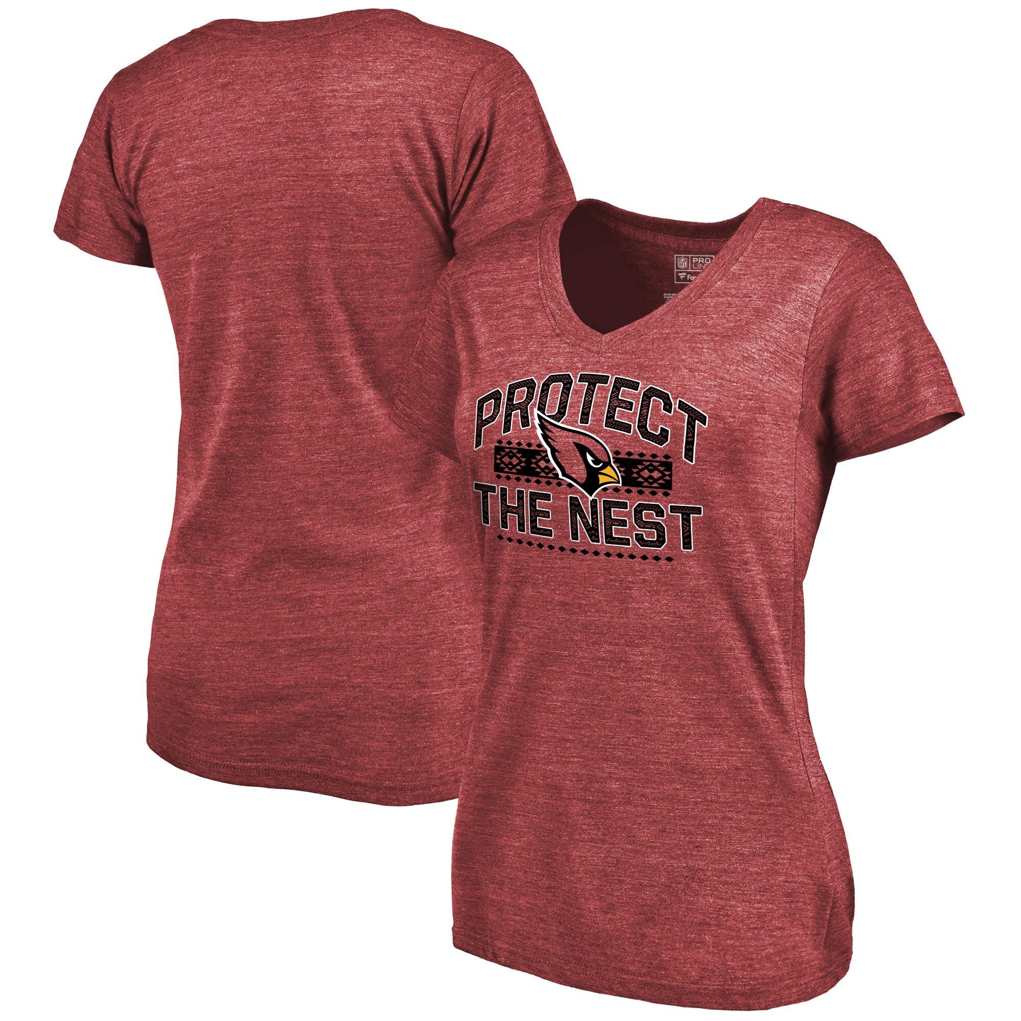 Arizona Cardinals NFL Pro Line by Fanatics Branded Women's Hometown Collection The Nest Tri-Blend V-Neck T-Shirt - Cardinal