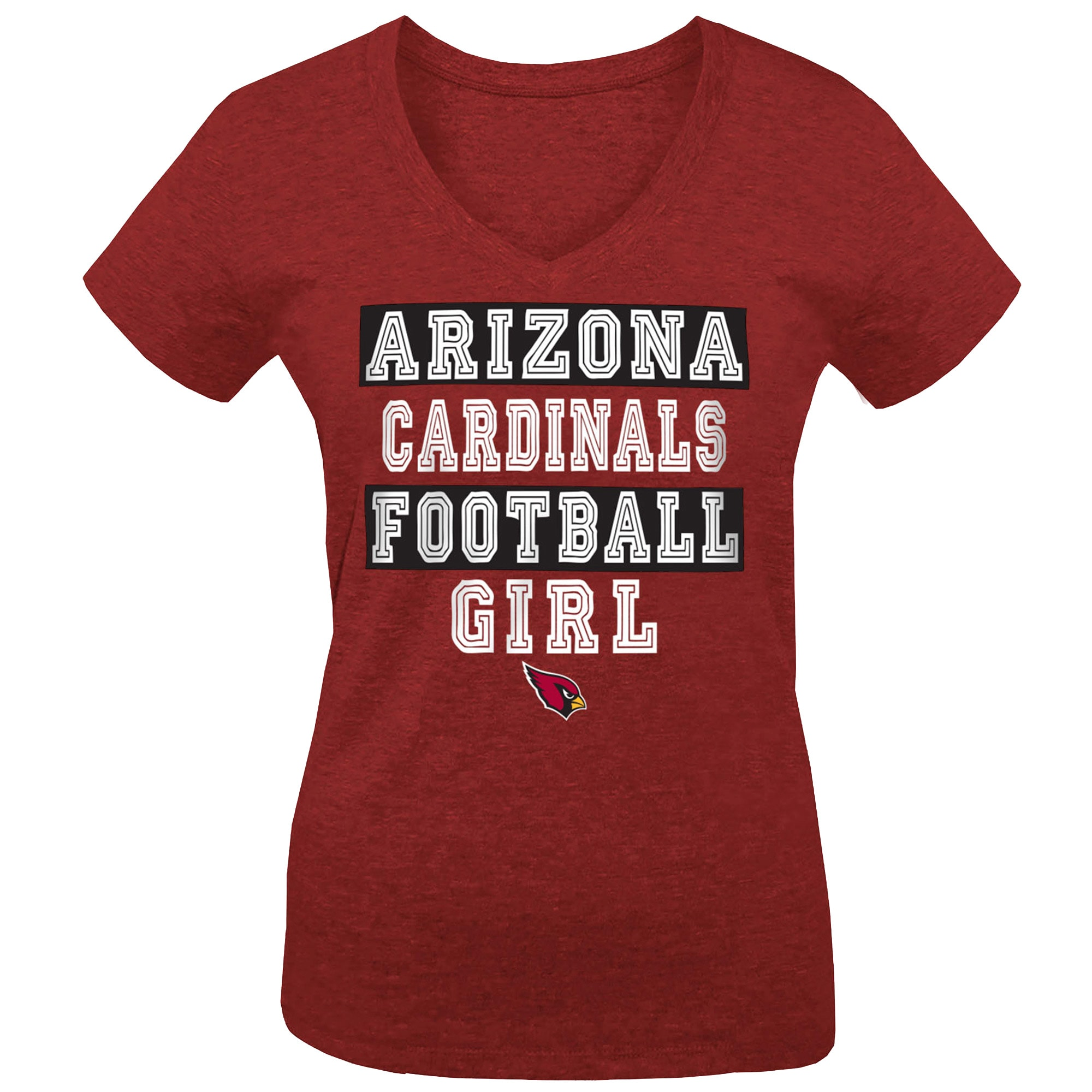Arizona Cardinals 5th & Ocean by New Era Girls Youth Football Girl Tri-Blend V-Neck T-Shirt - Cardinal