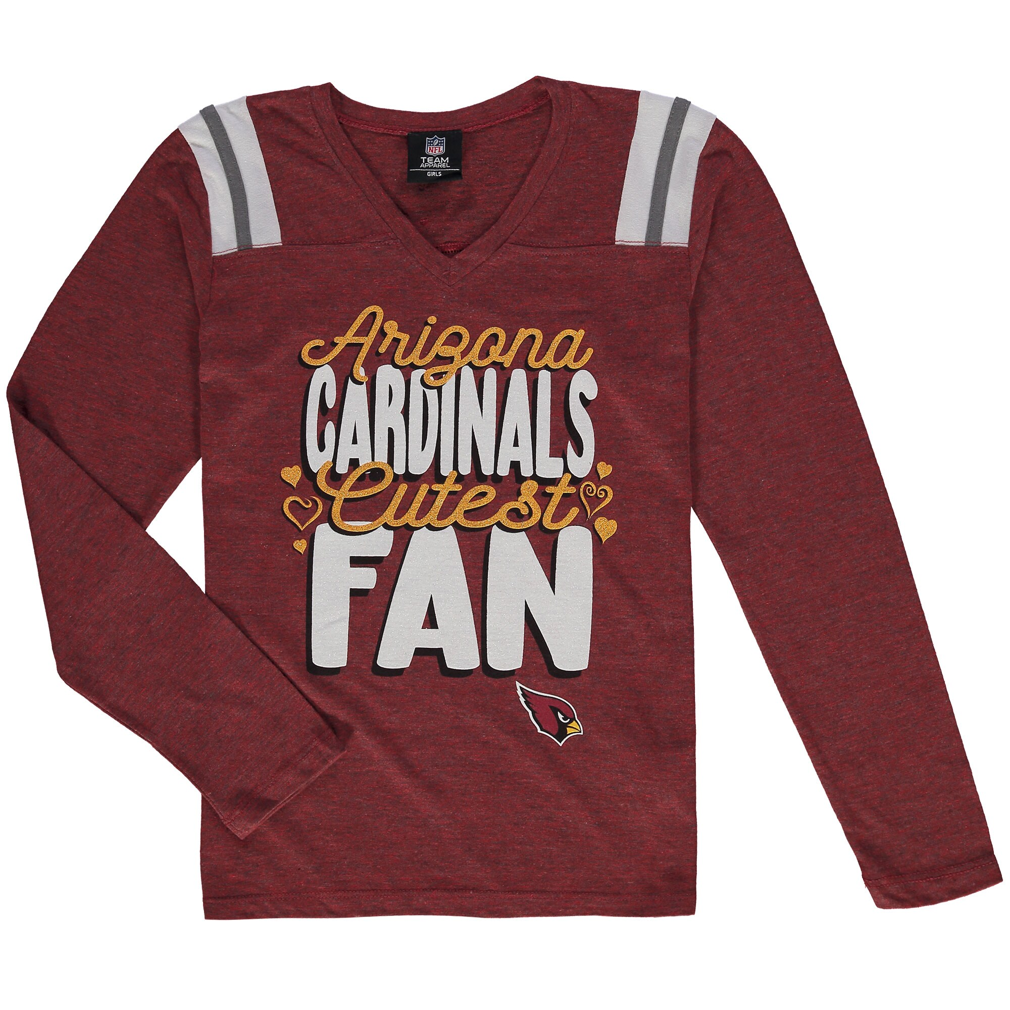 Arizona Cardinals 5th & Ocean by New Era Girls Youth Cutest Fan Tri-Blend V-Neck Long Sleeve T-Shirt - Cardinal