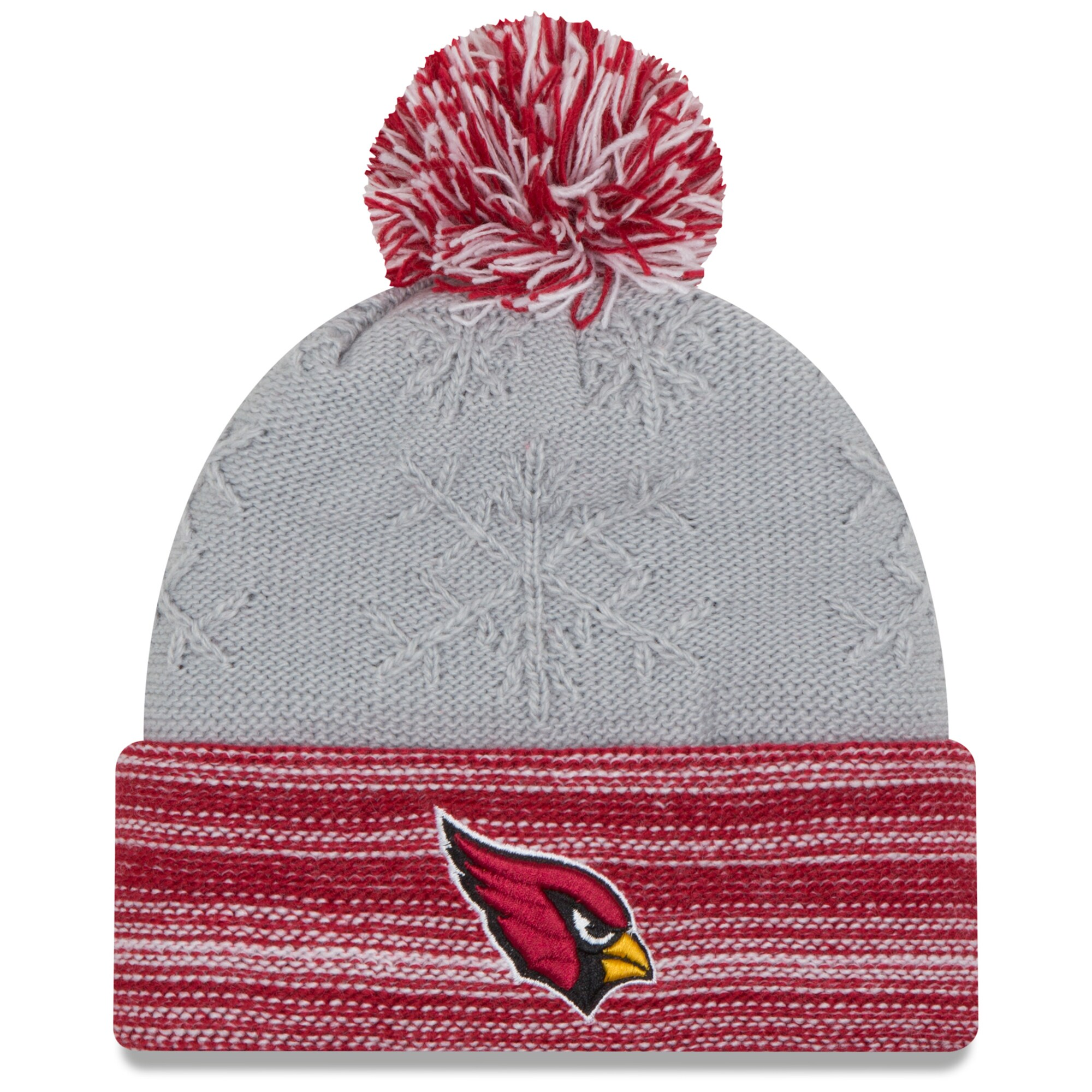 Arizona Cardinals New Era Women's Snow Crown Redux Cuffed Knit Hat with Pom - Gray/Cardinal
