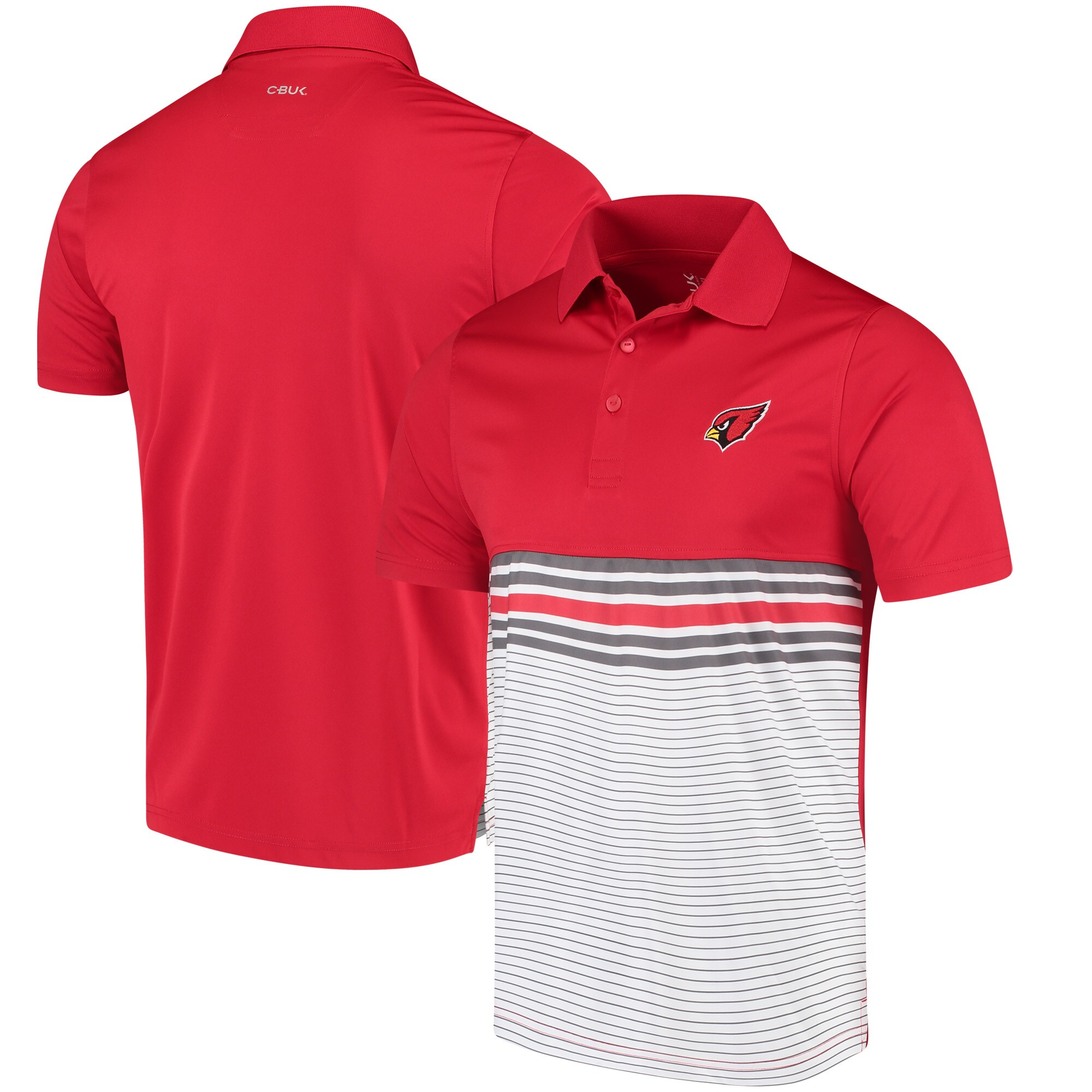 Arizona Cardinals CBUK by Cutter & Buck Heron Lakes Striped Polo - Cardinal