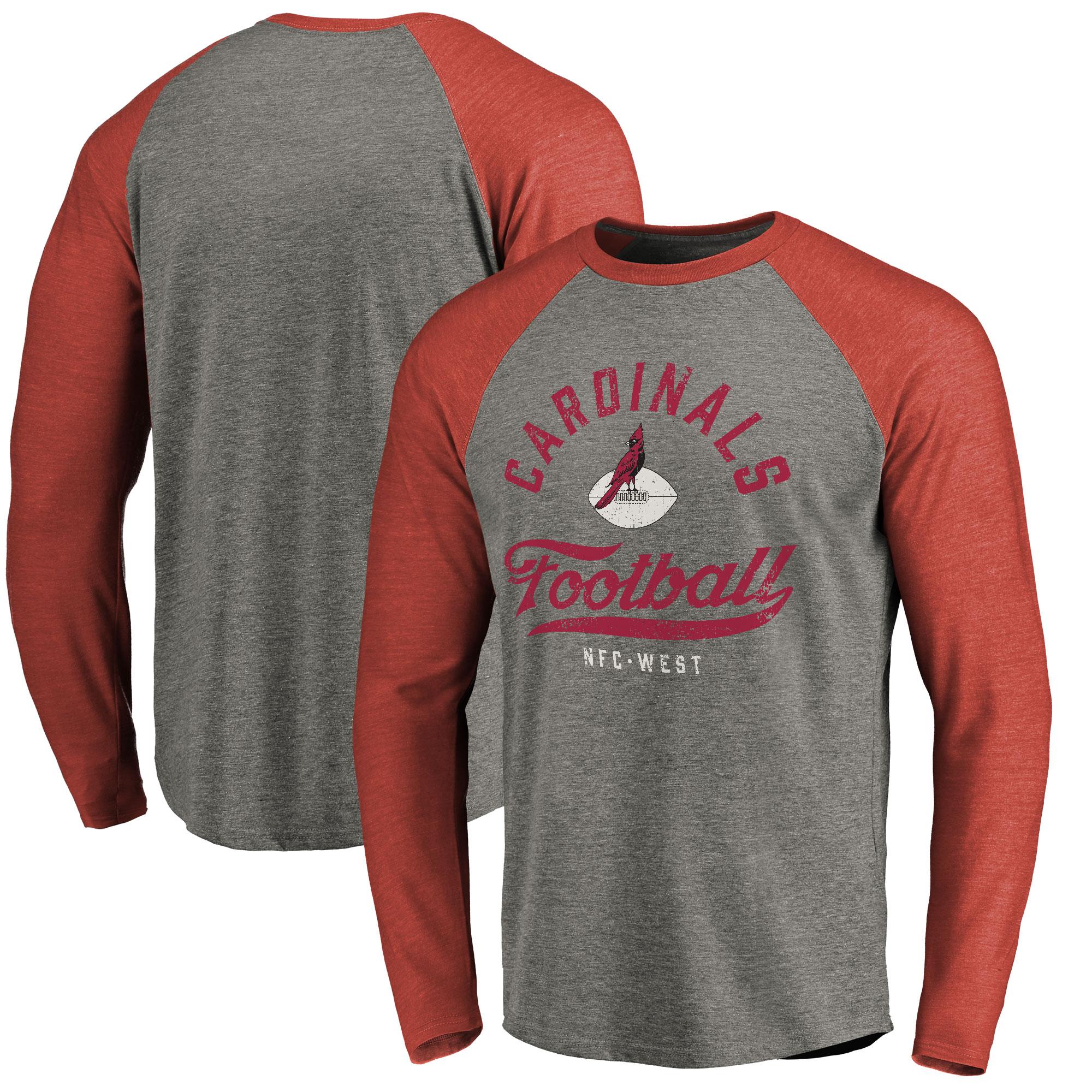 Arizona Cardinals NFL Pro Line by Fanatics Branded Emblem Raglan Tri-Blend Long Sleeve T-Shirt - Heathered Gray/Cardinal
