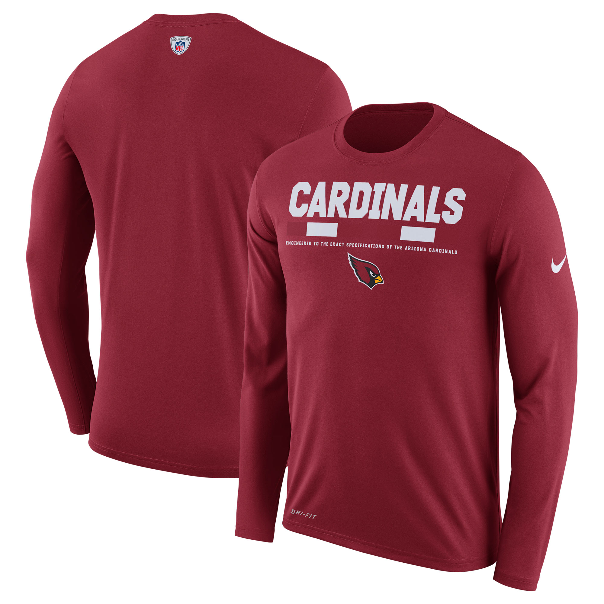 Arizona Cardinals Nike Sideline Legend Staff Performance Long Sleeve T-Shirt - Cardinal