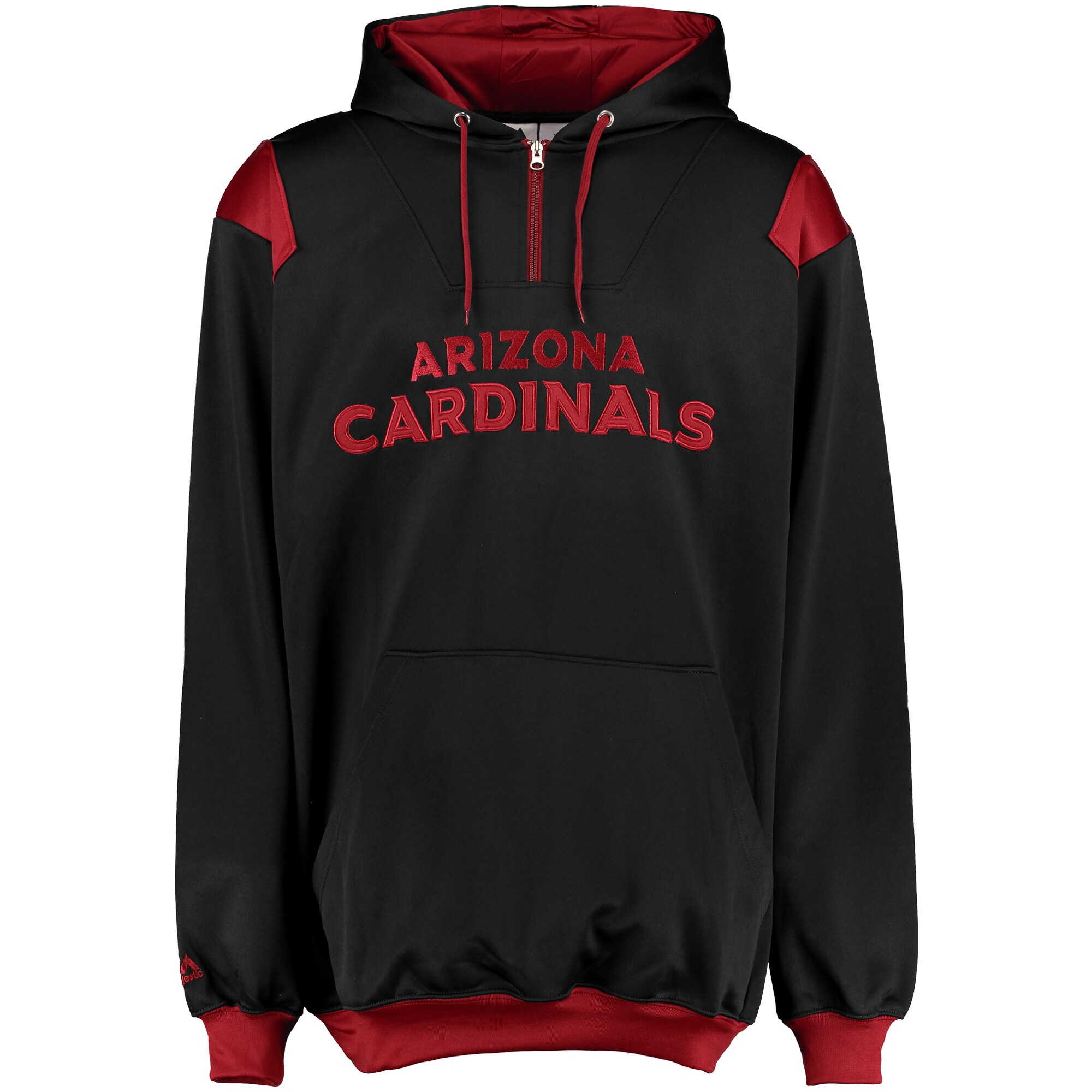 Arizona Cardinals Majestic Big & Tall 1/4-Zip Pullover Hoodie - Black