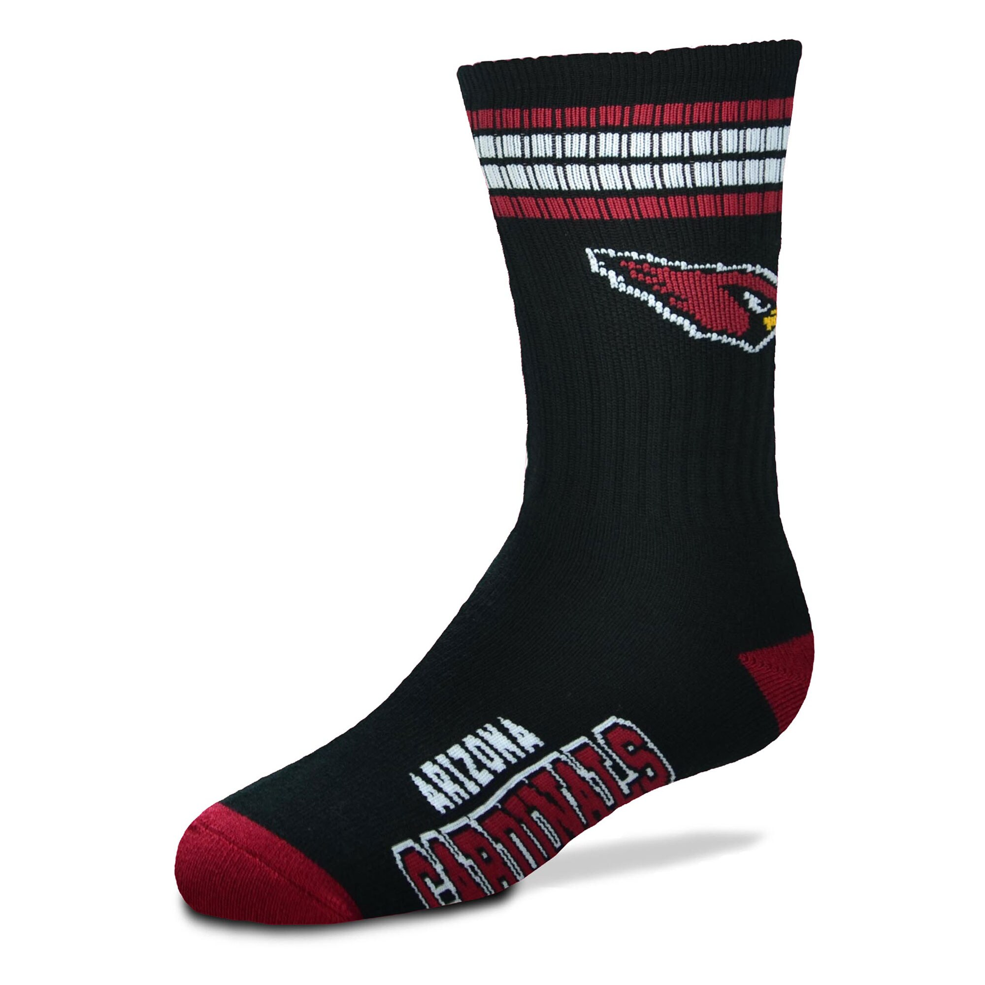 Arizona Cardinals For Bare Feet Youth 4-Stripe Deuce Quarter-Length Socks