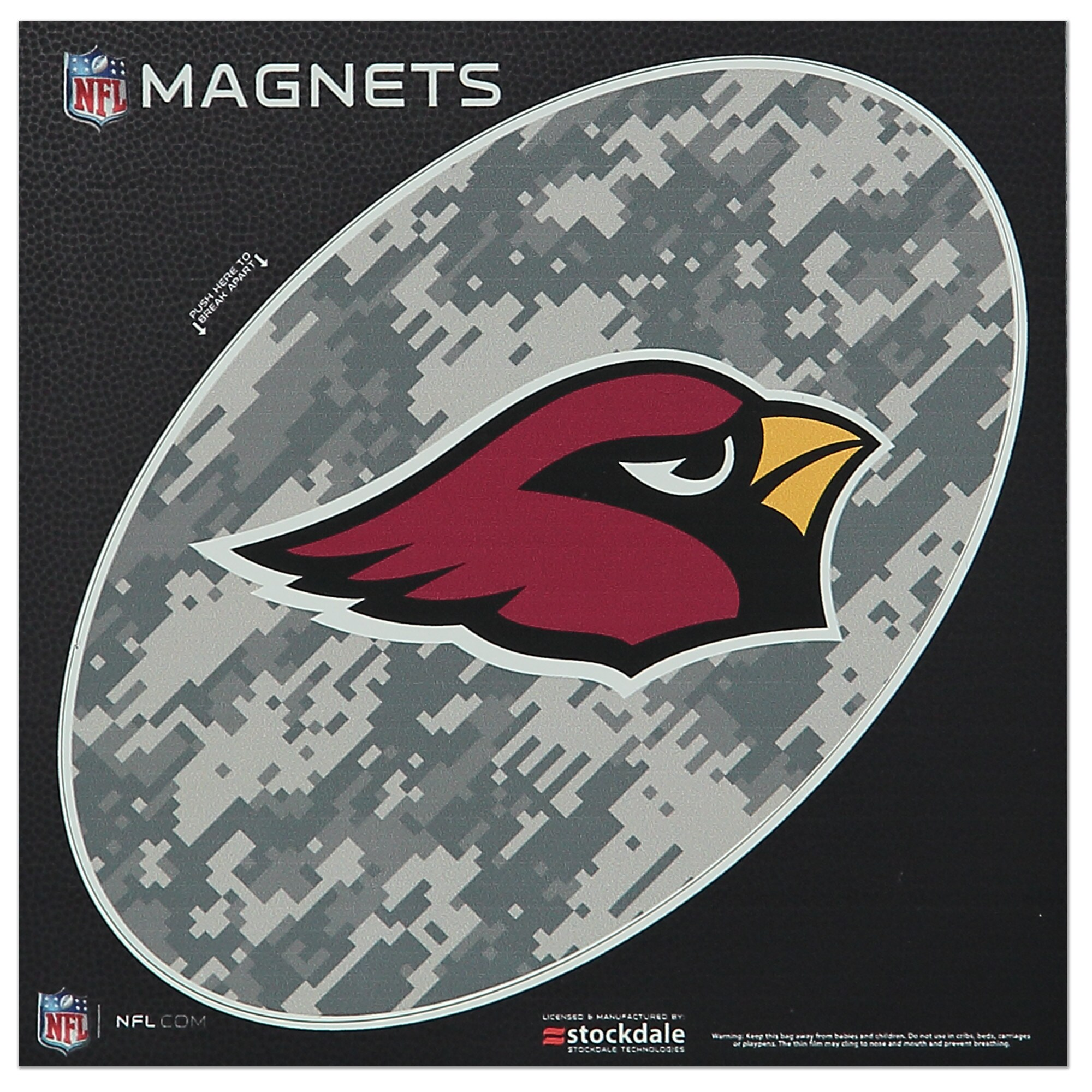 "Arizona Cardinals 6"" x 6"" Digi Camo Oval Car Magnet"