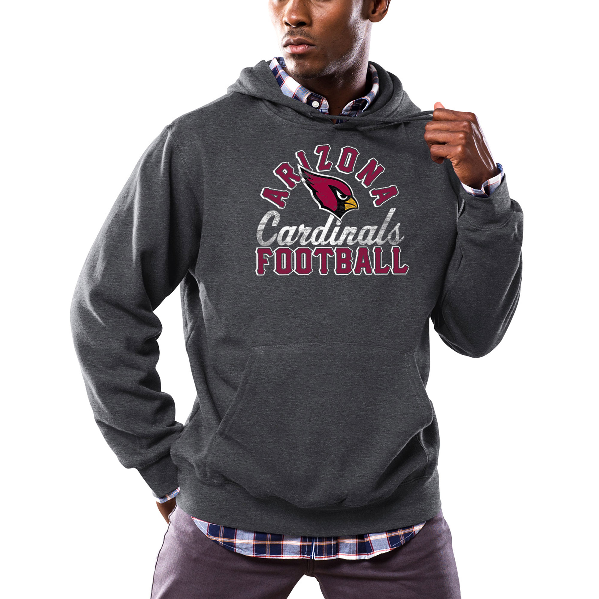 Arizona Cardinals Majestic Kick Return Pullover Hoodie - Heathered Charcoal