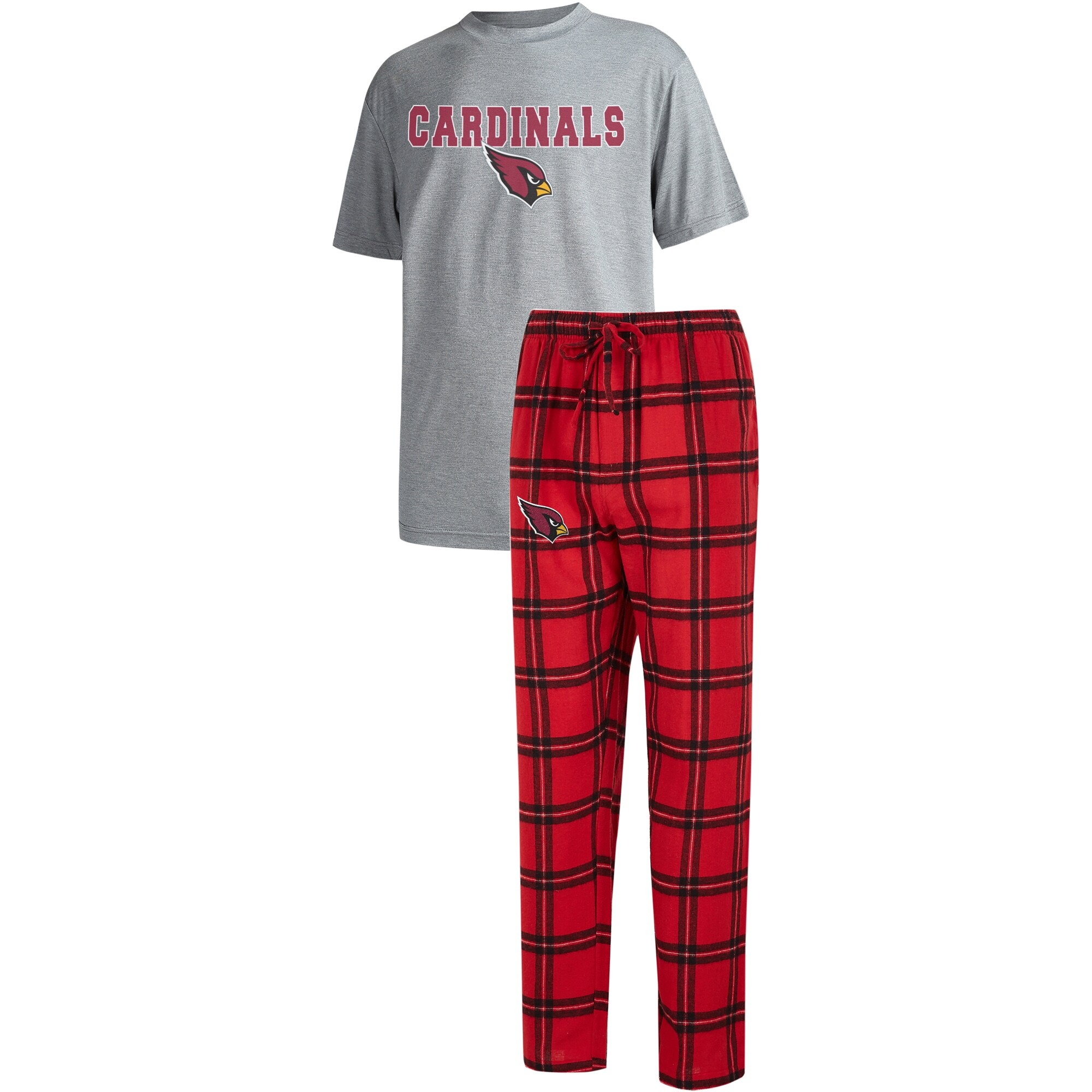 Arizona Cardinals Concepts Sport Big & Tall Troupe T-Shirt & Pants Sleep Set - Cardinal/Heathered Gray